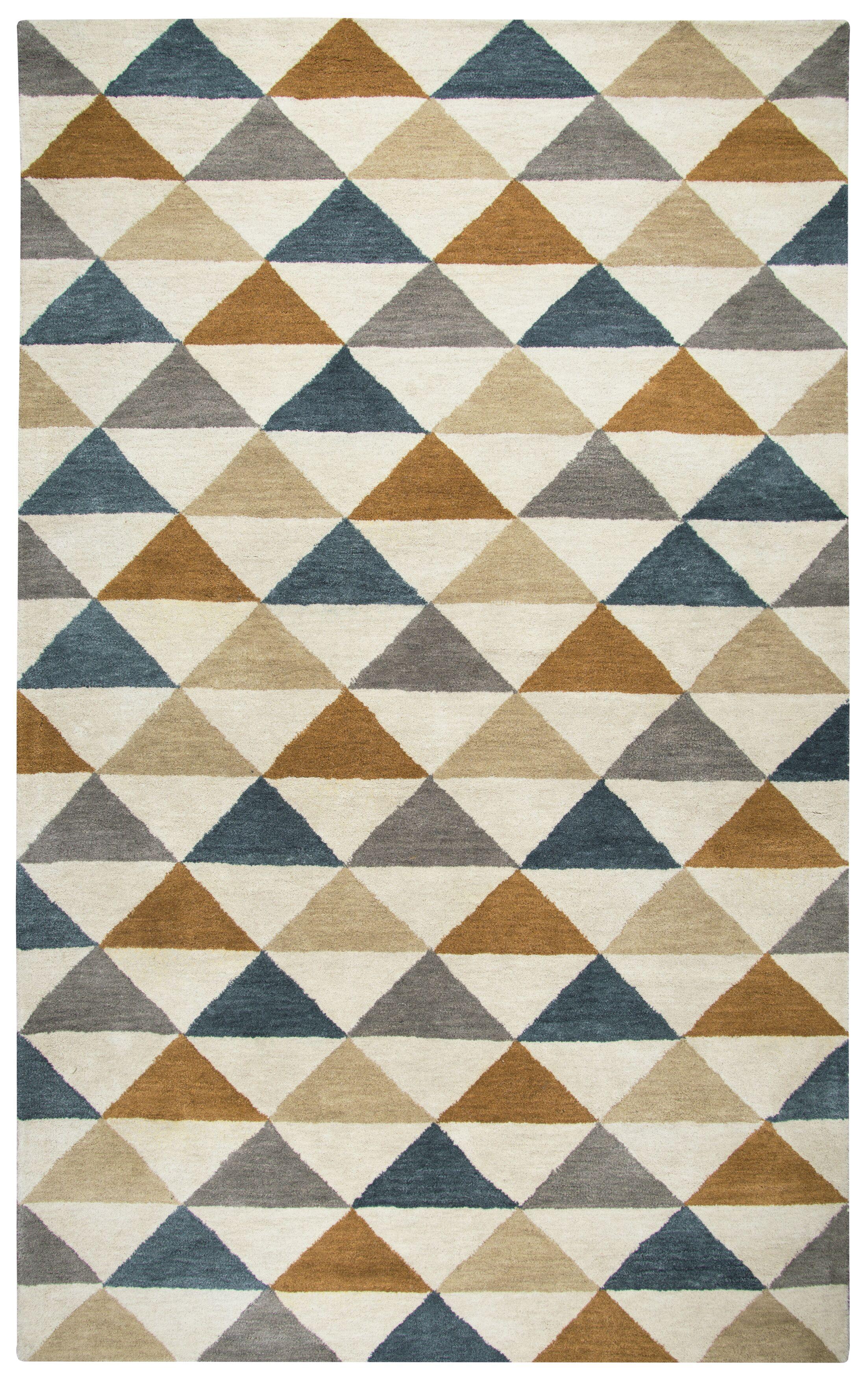 Hargis Hand-Tufted Wool Beige/Navy Area Rug Rug Size: Rectangle 9' x 12'