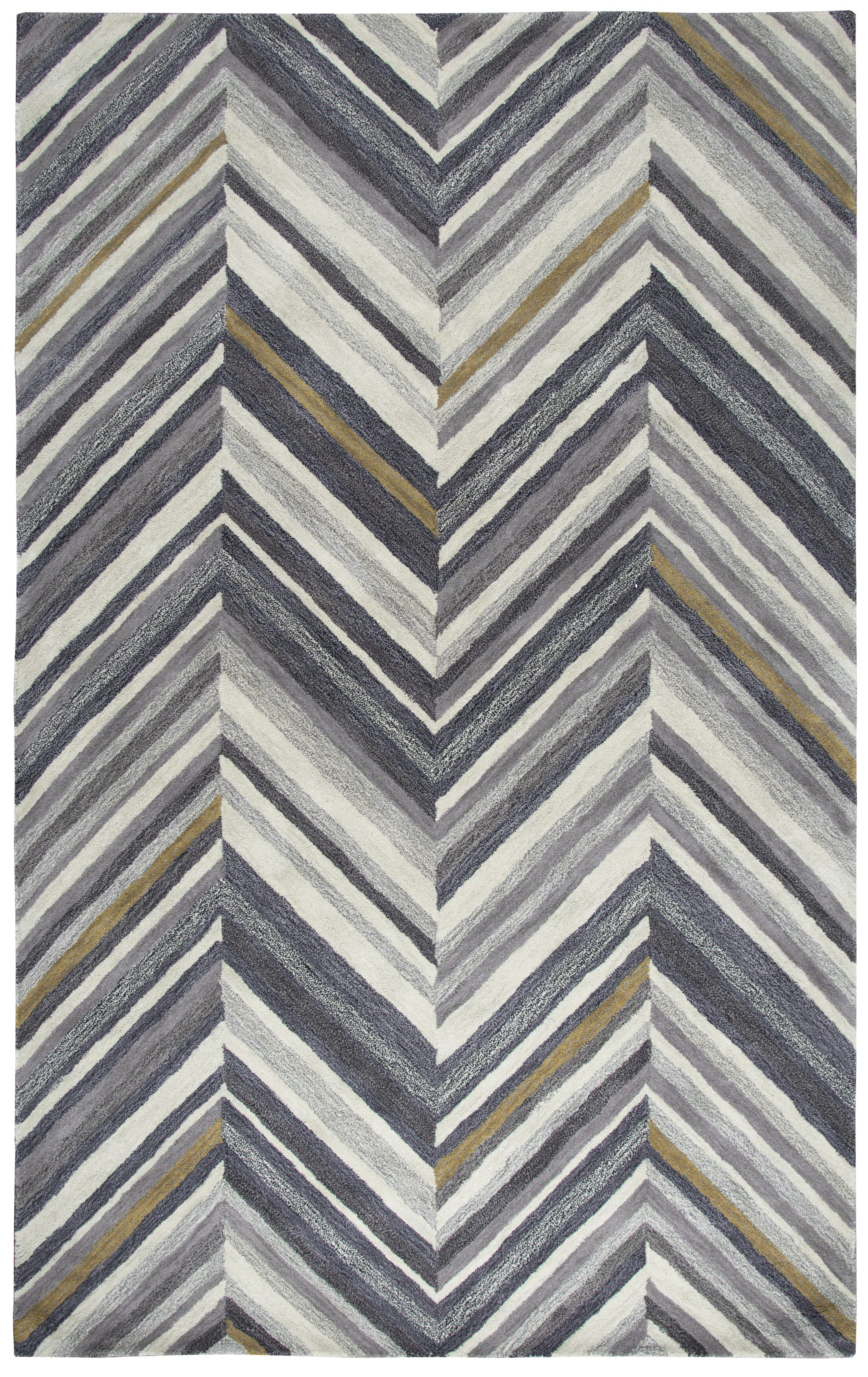 Manwaring Hand-Tufted Wool Gray Area Rug Rug Size: Rectangle 5' x 8'