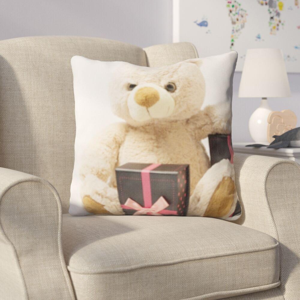 Hicks Teddy Bear Next To Gifts Throw Pillow