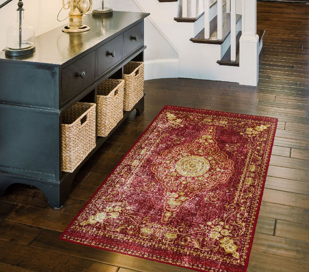 Parkhurst Distressed Persian, Traditional Vintage Oriental Red Area Rug Rug Size: Rectangle 5' x 8'