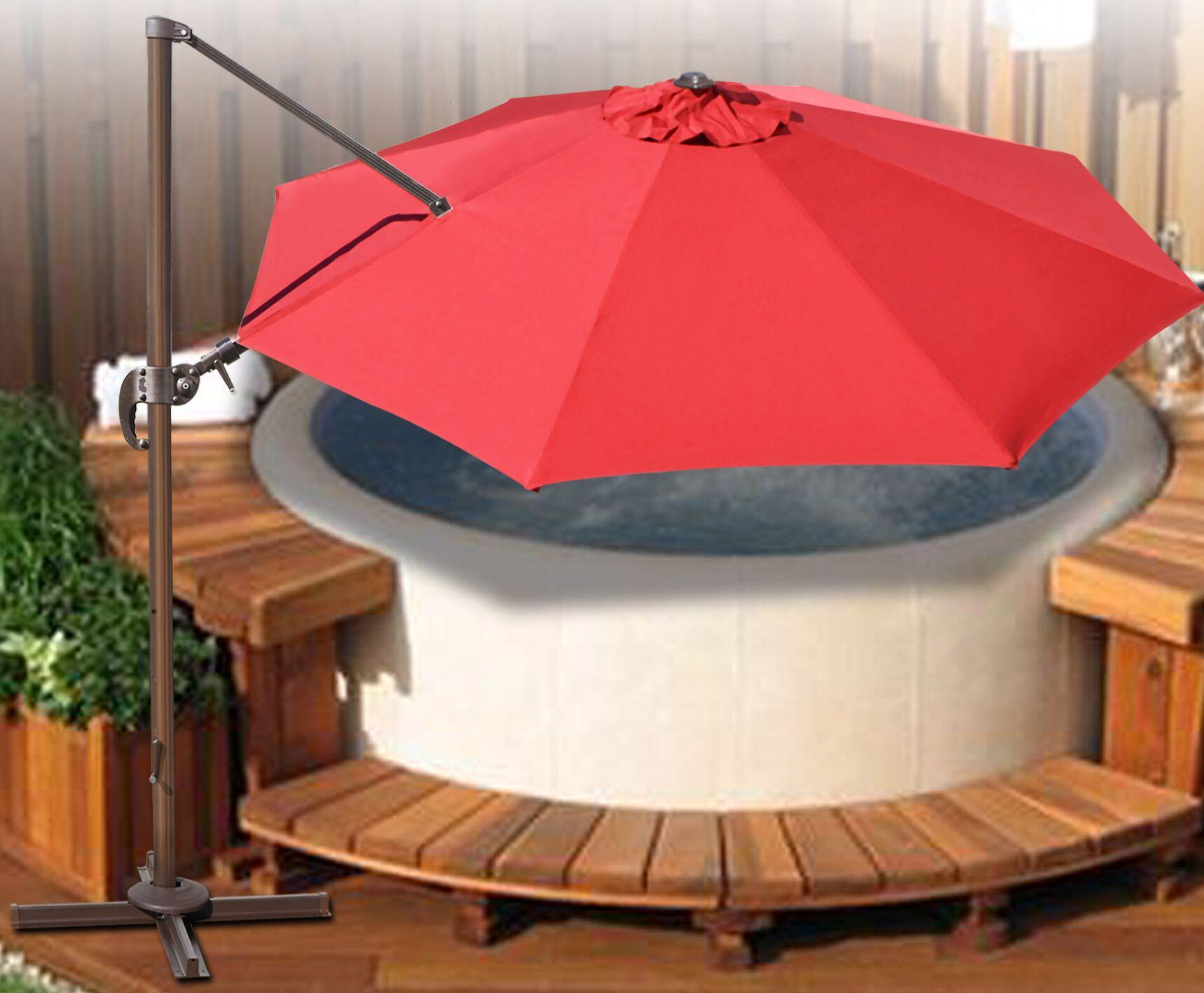 Klass Hanging Patio 11.5' Cantilever Umbrella Fabric Color: Henna