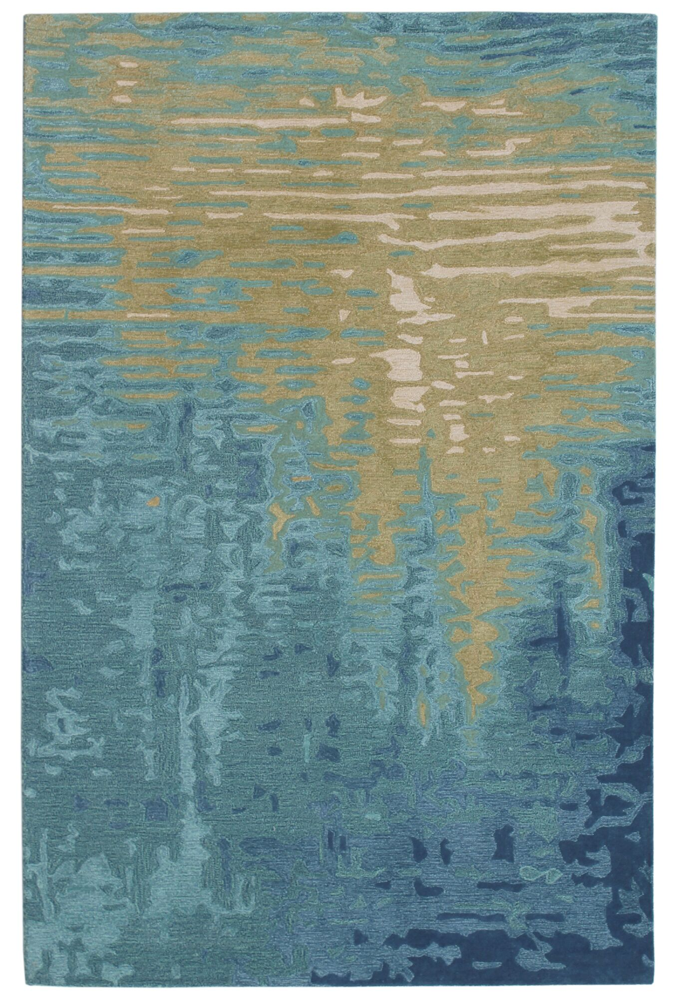 Groce Reflection Hand-Woven Wool Blue/Beige Area Rug Rug Size: Rectangle 5' X 7'5