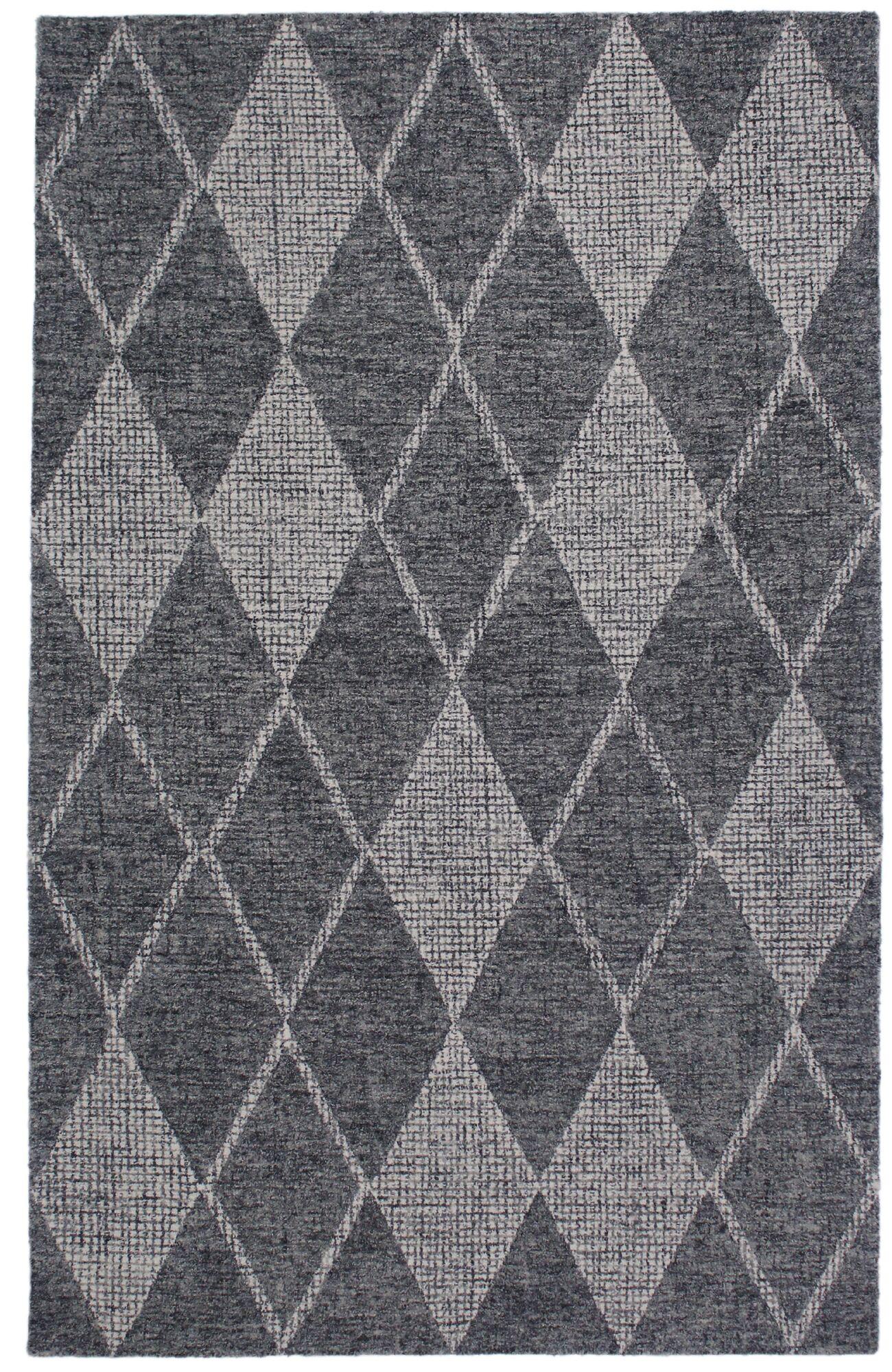 Finkelstein Diamond Hand-Woven Wool Gray Area Rug Rug Size: Rectangle 7'5