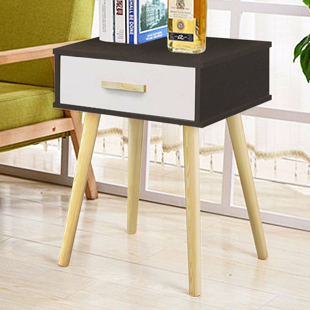 Clauson Modern 1 Drawer Nightstand Color: Black/White