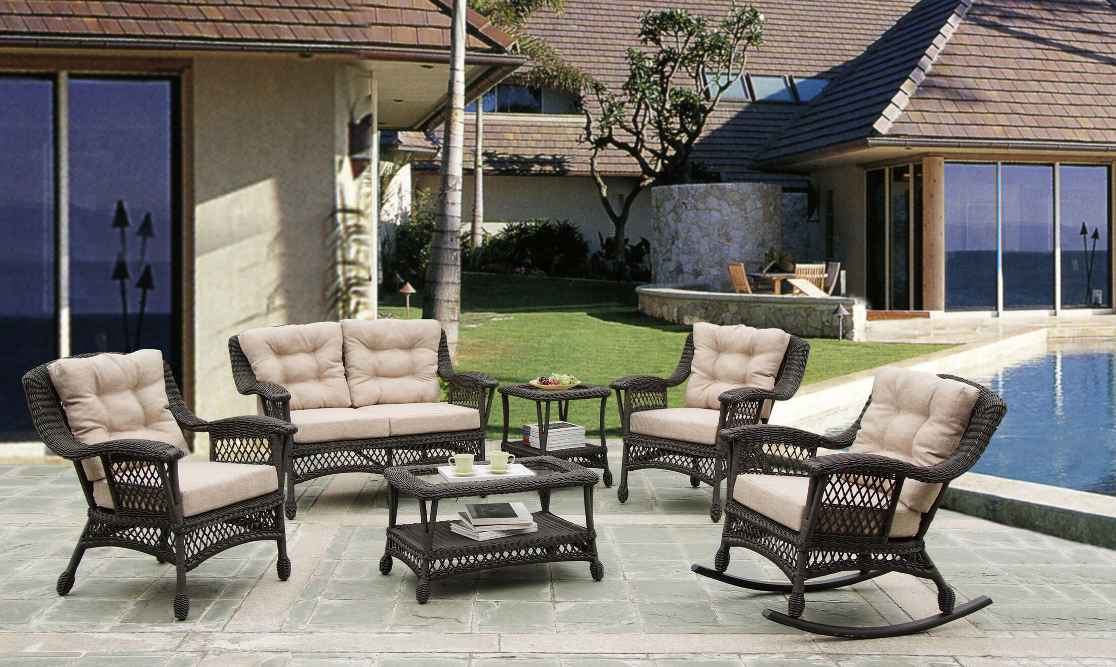 Procter 6 Piece Rattan Conversation Set with Cushions