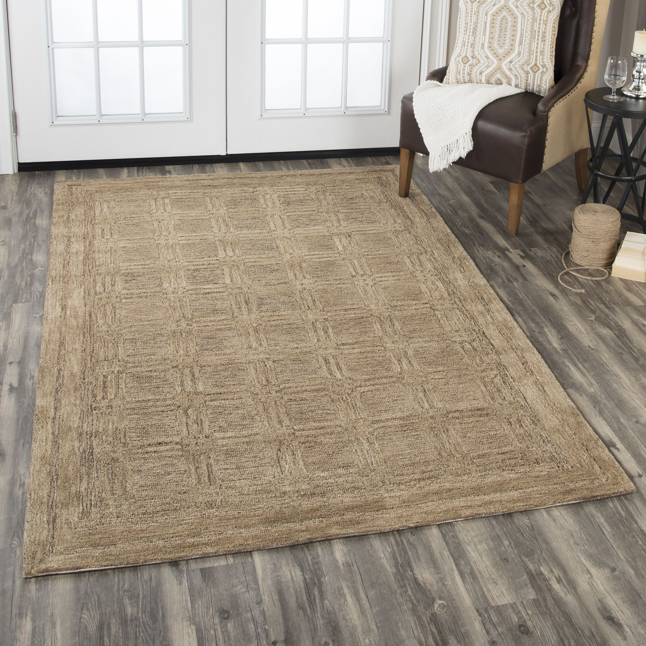 Etheredge Hand-Tufted Wool Brown Area Rug Rug Size: Rectangle 8' x 10'