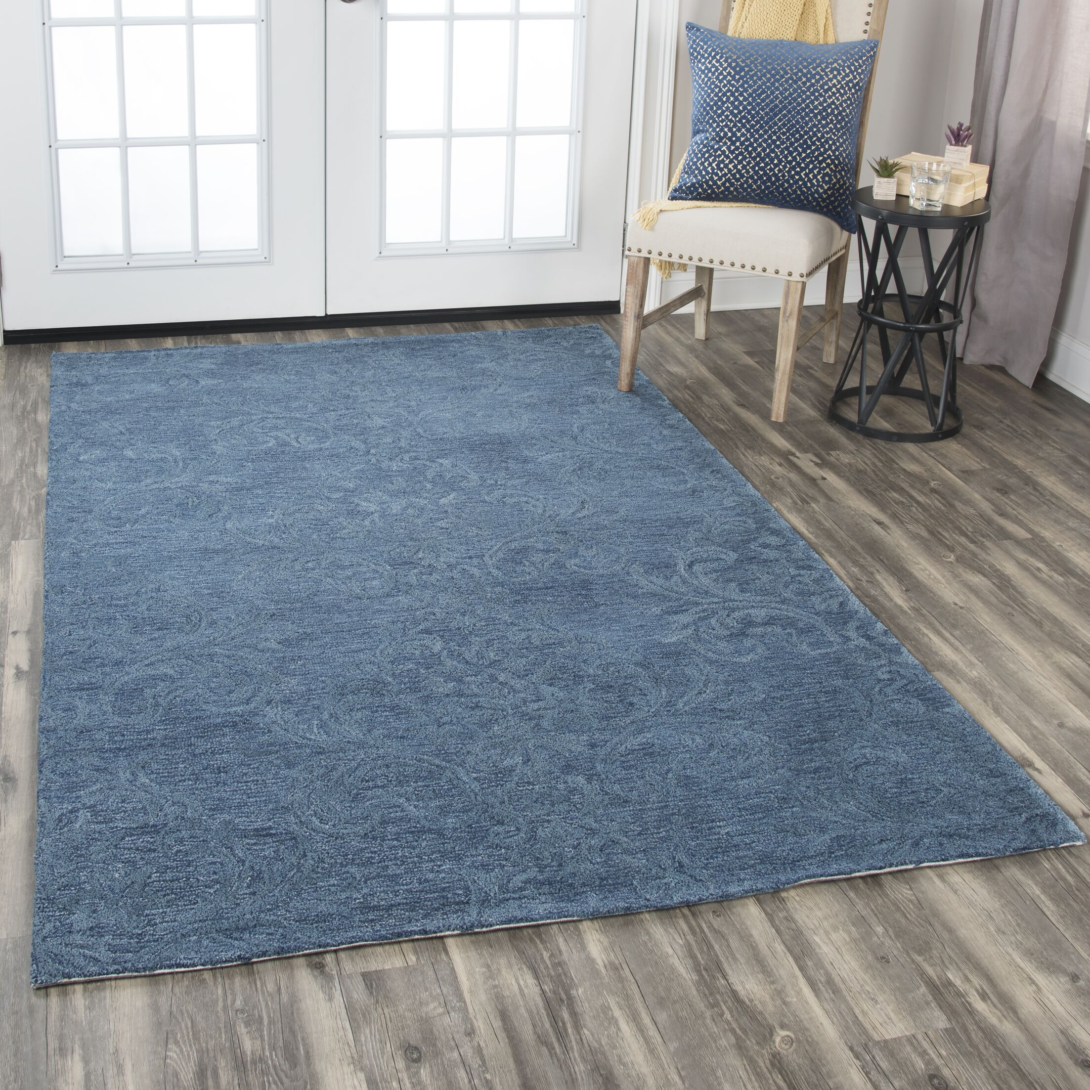 Etheredge Hand-Tufted Wool Blue Area Rug Rug Size: Rectangle 5' x 8'