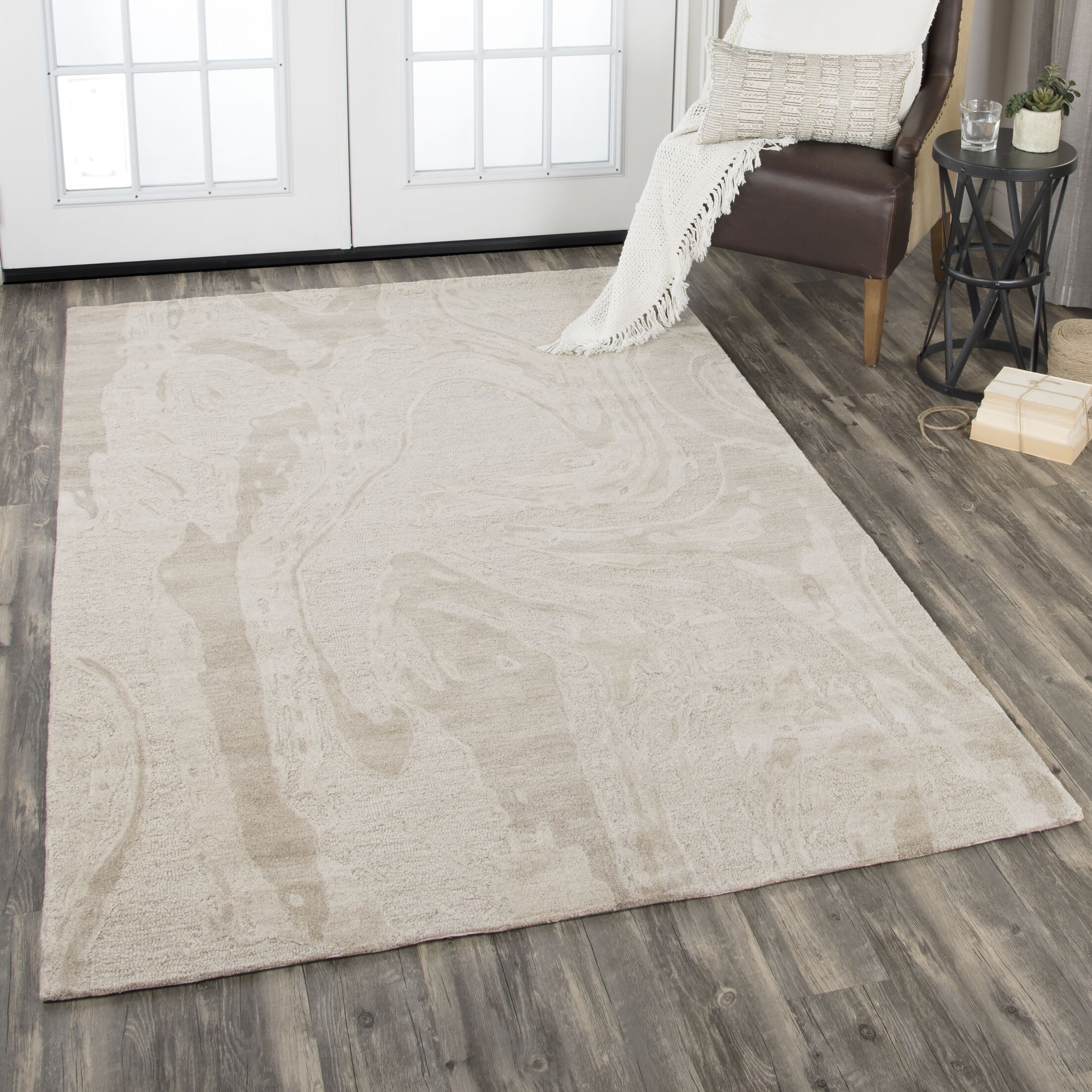 Etheredge Hand-Tufted Wool Beige Area Rug Rug Size: Rectangle 10' x 13'