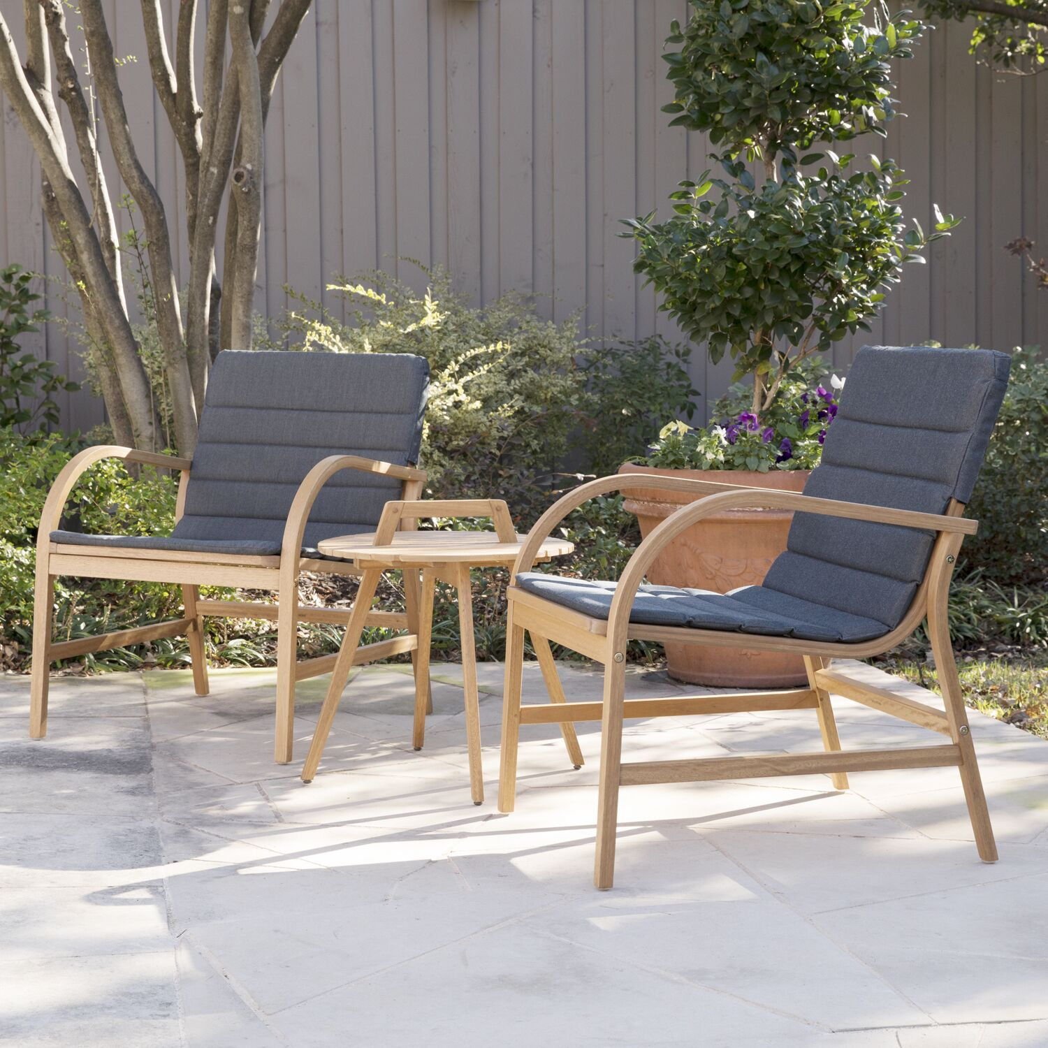 Chenier 3 Piece Outdoor Seating Group with Removable Cushions