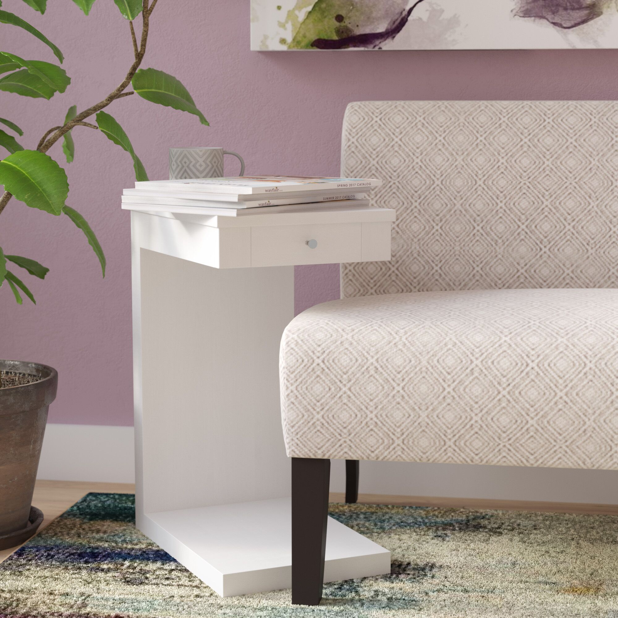 Waneta End Table Color: White