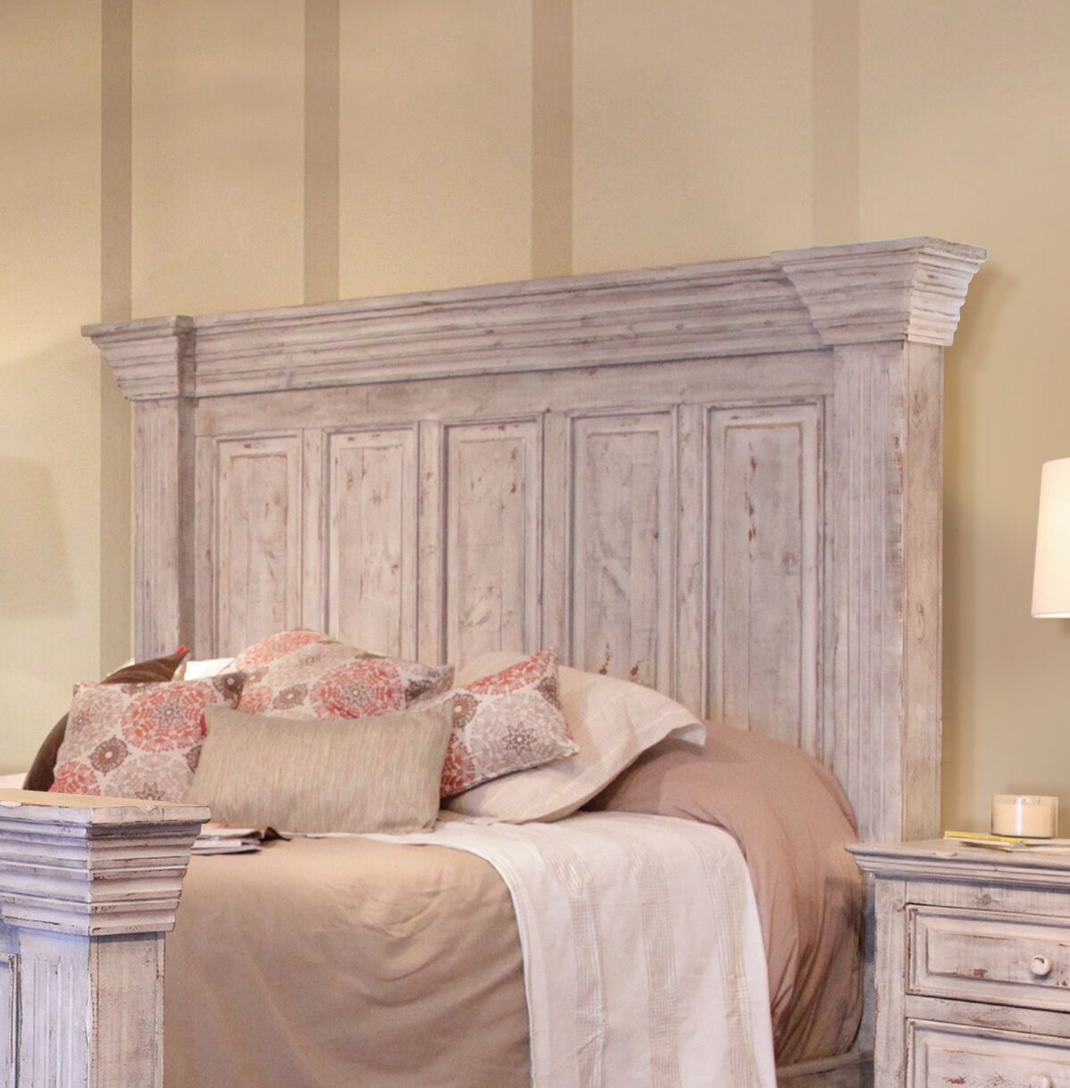 Panel Headboard Size: King, Color: White