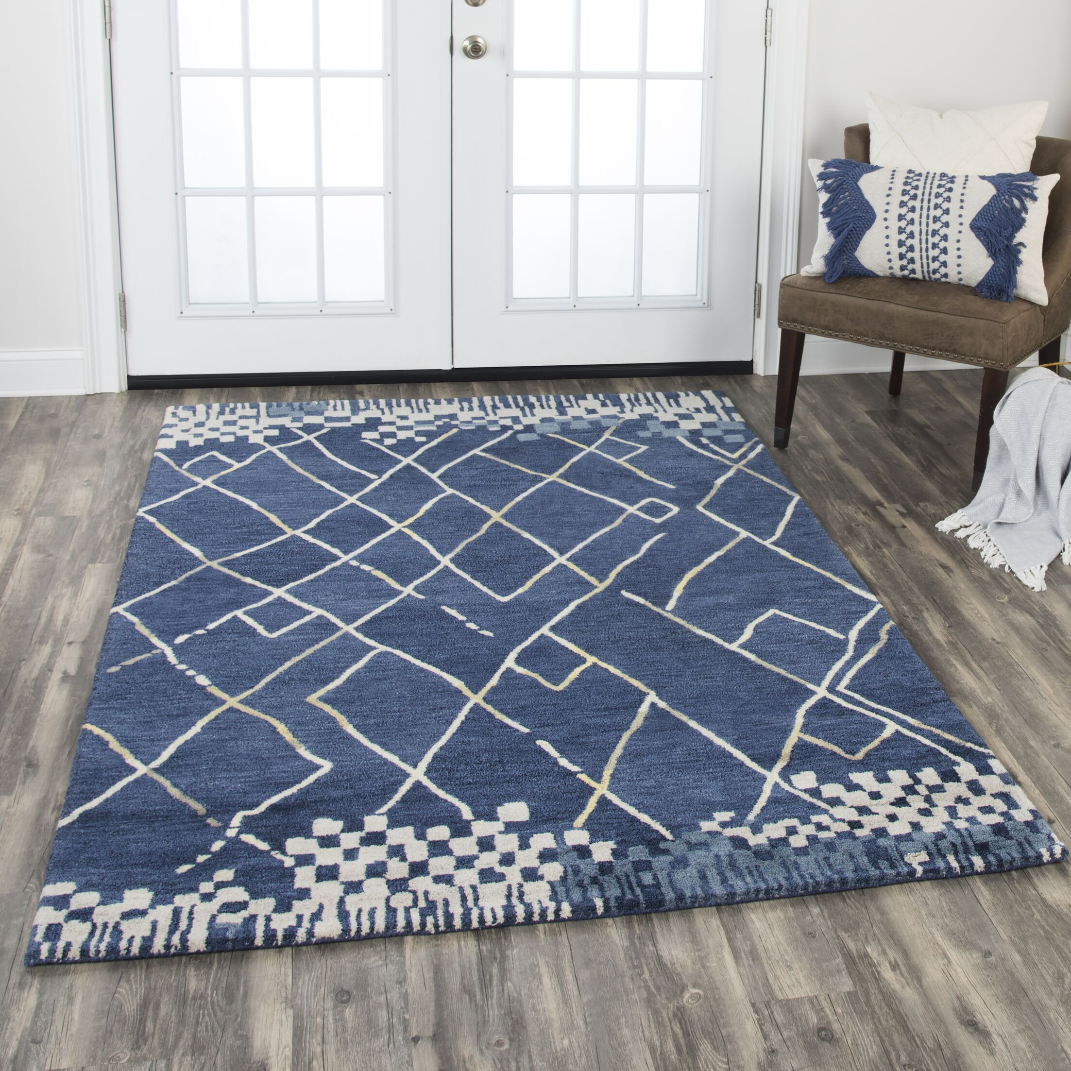Hargis Hand-Tufted Wool Navy Area Rug Rug Size: Rectangle 8' x 10'