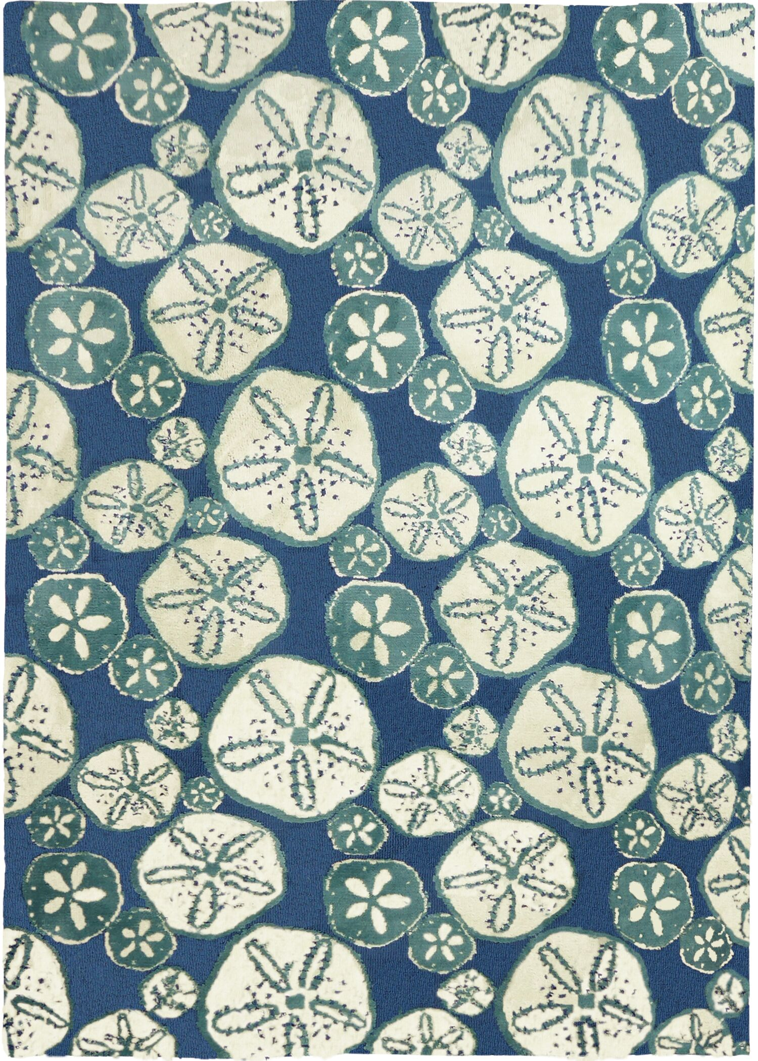 Nhung Sand Dollars Blue Area Rug Rug Size: Rectangle 3' x 5'
