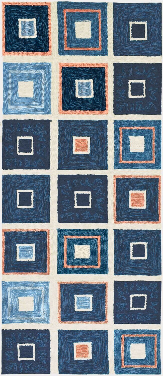 Easterly Beach Tiles Hand-Woven Blue Indoor/Outdoor Area Rug Rug Size: Runner 2'2