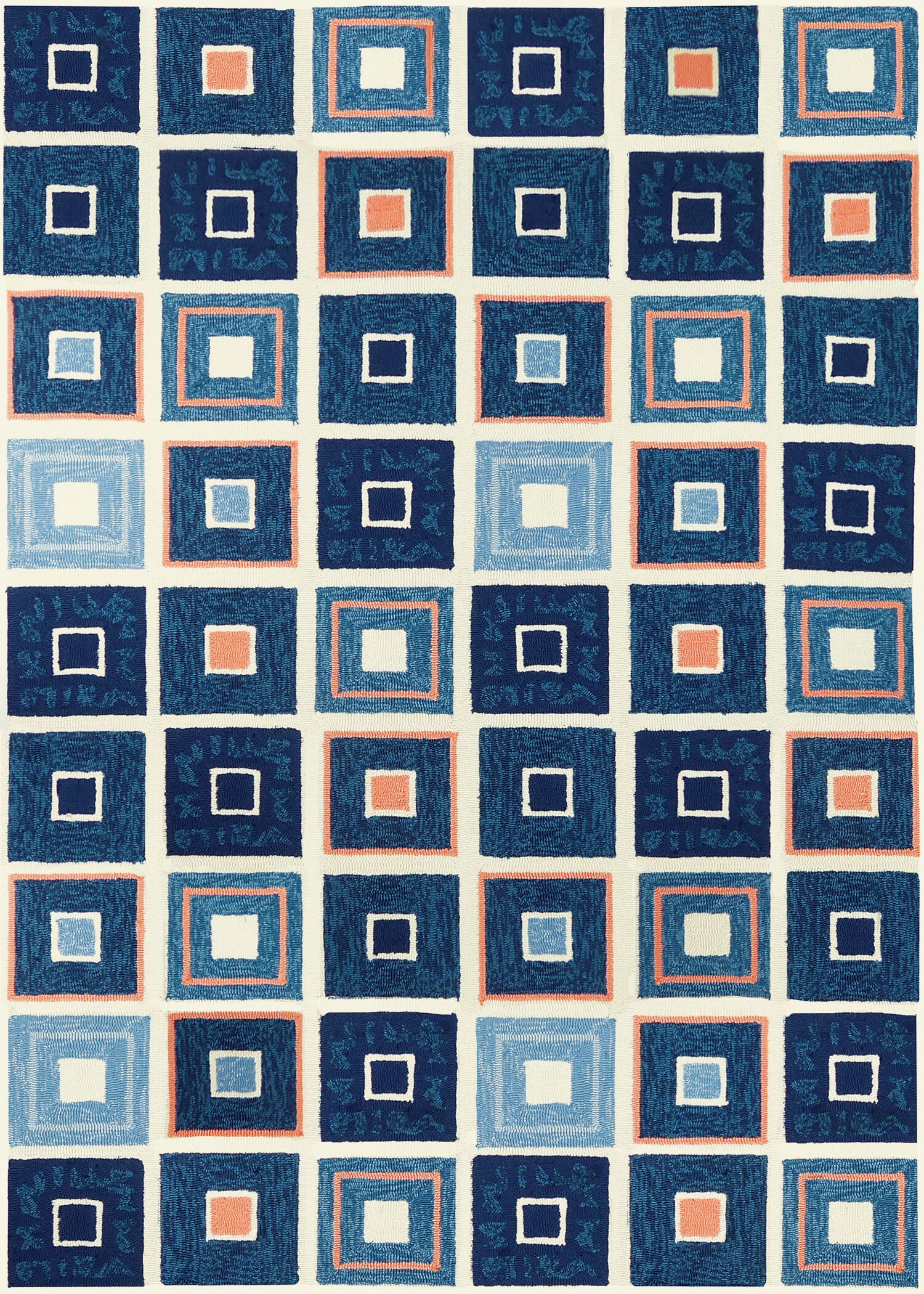Easterly Beach Tiles Hand-Woven Blue Indoor/Outdoor Area Rug Rug Size: Rectangle 3' x 5'