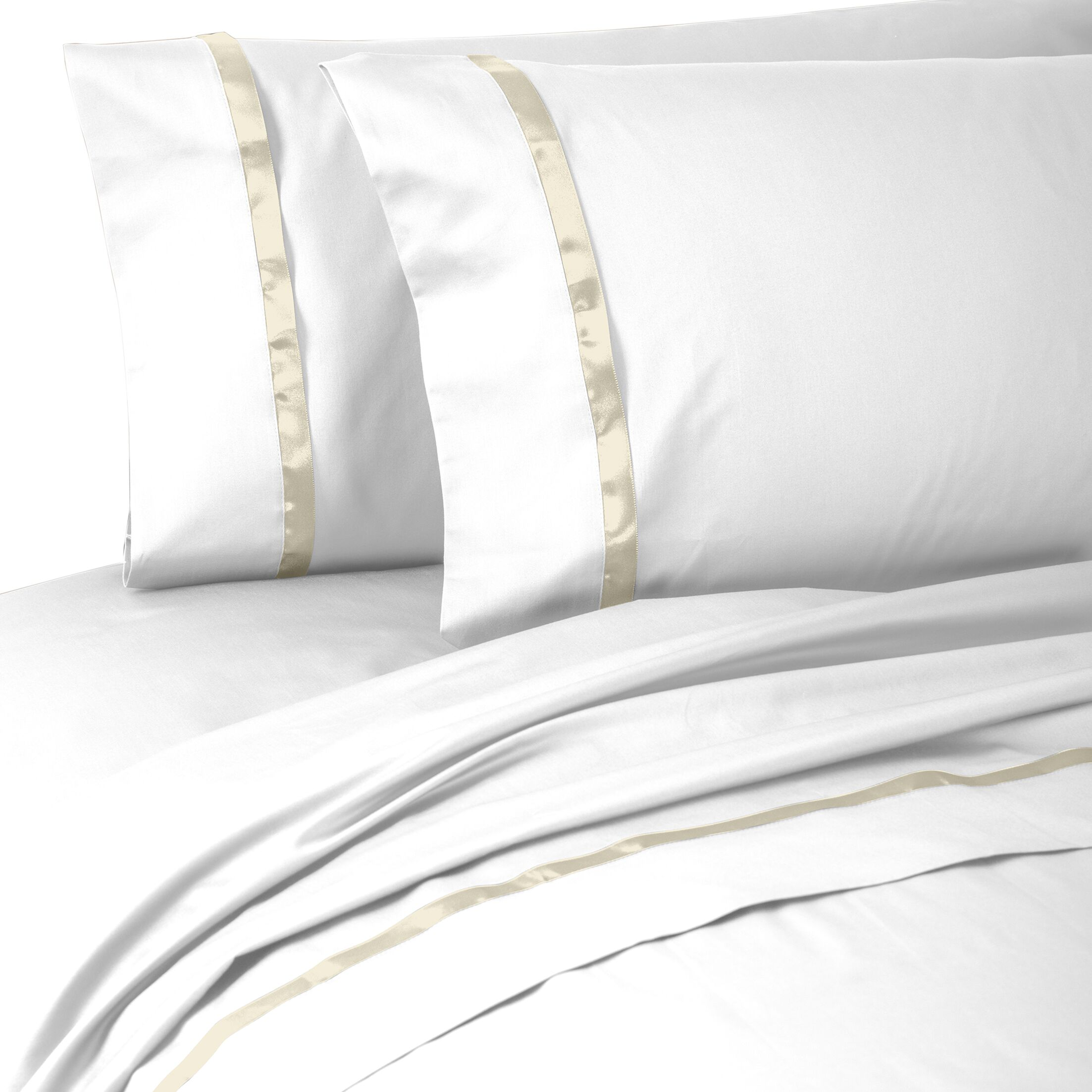 Kiley 400 Thread Count 100% Cotton Sheet Set Size: Queen, Color: White/Ivory