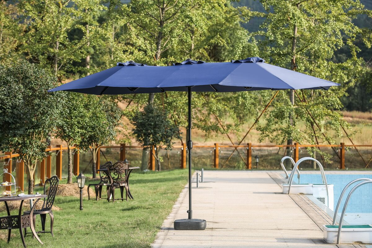 Eisele 9' W x 15' D Rectangular Market Umbrella Fabric Color: Blue