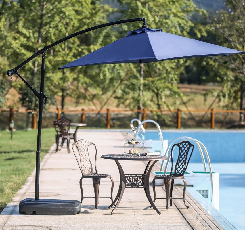 Templeton 9' CantileverUmbrella Fabric Color: Blue, With Base/ Stand: Yes