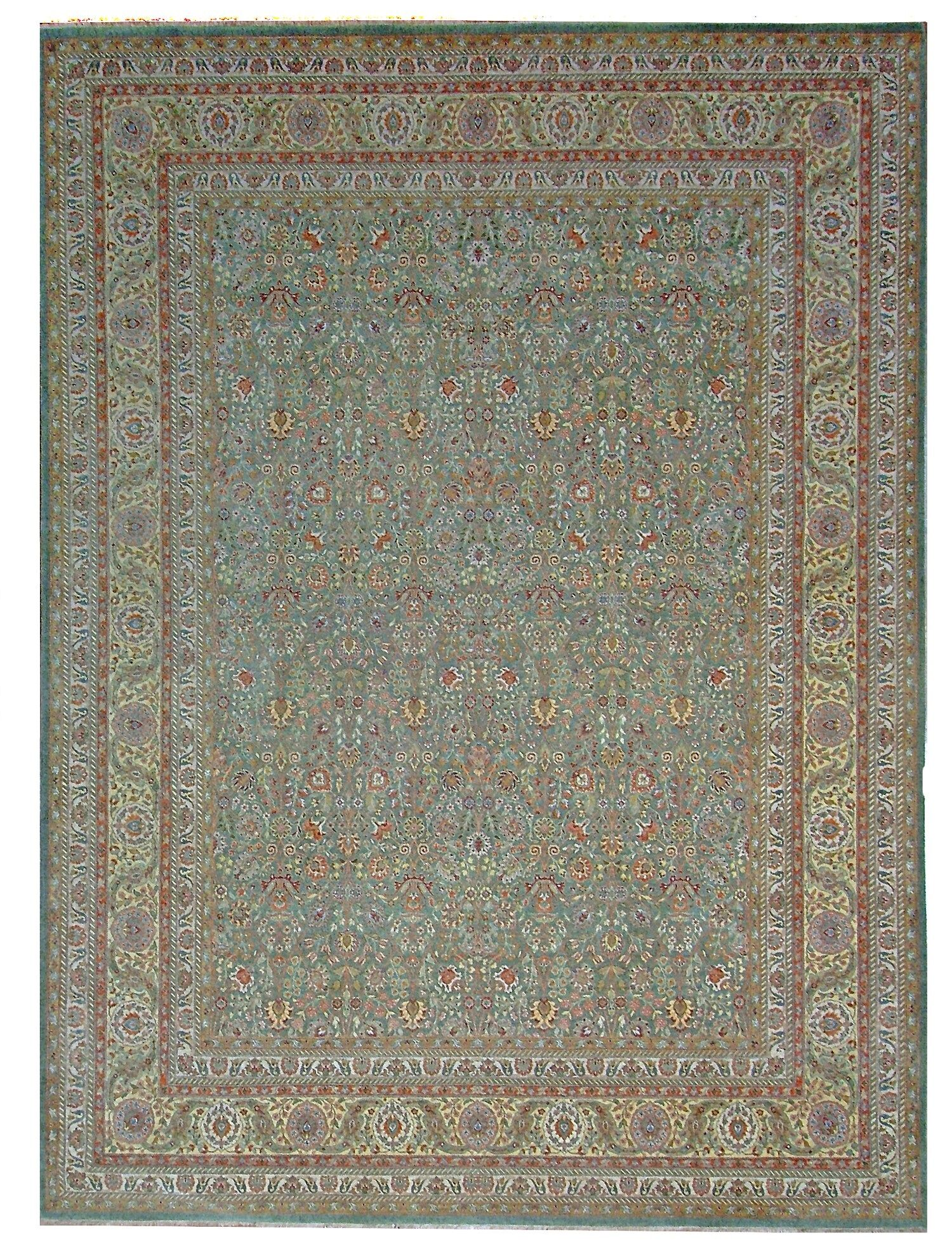 One-of-a-Kind Tabriz Hand-Knotted Wool Green Area Rug
