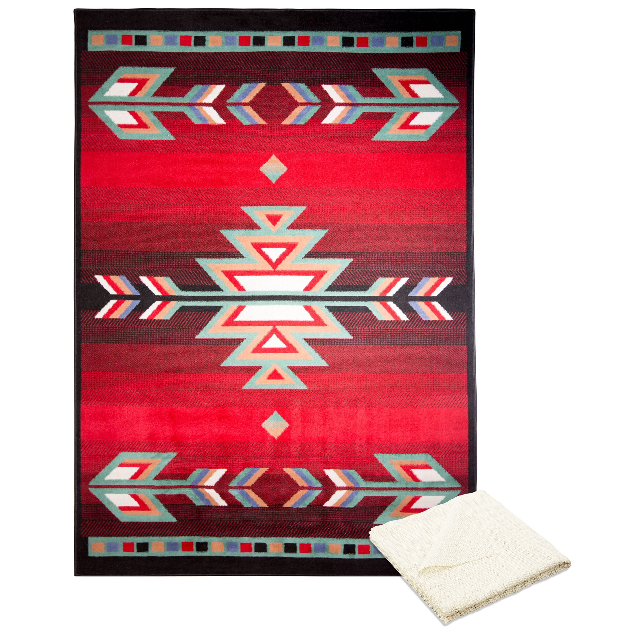 Swinney Classic Border Red Area Rug with Rug Pad Rug Size: Rectangle 7'8