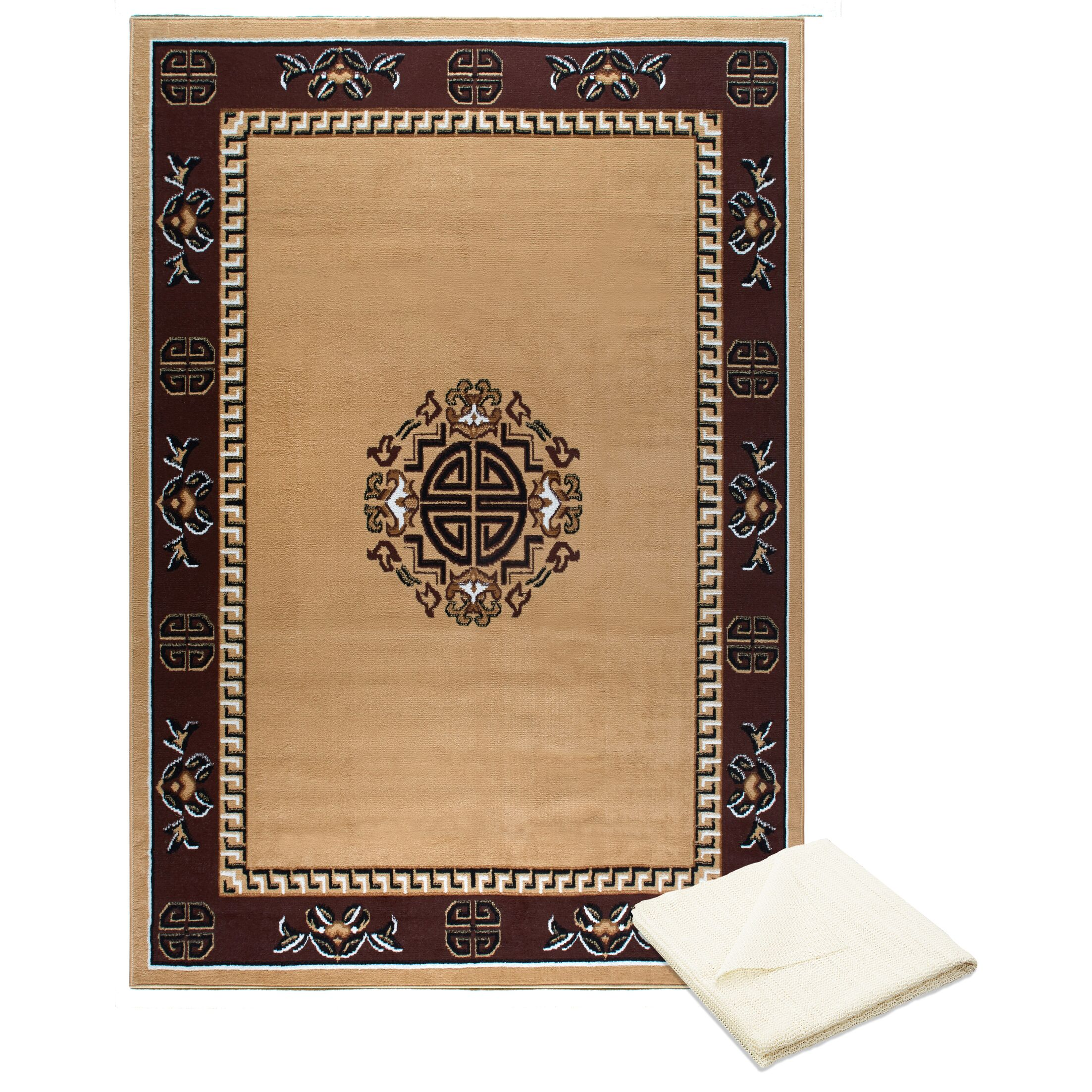 Ingham Tribal Medallion Cream/Brown Area Rug with Rug Pad Rug Size: Rectangle 7'8
