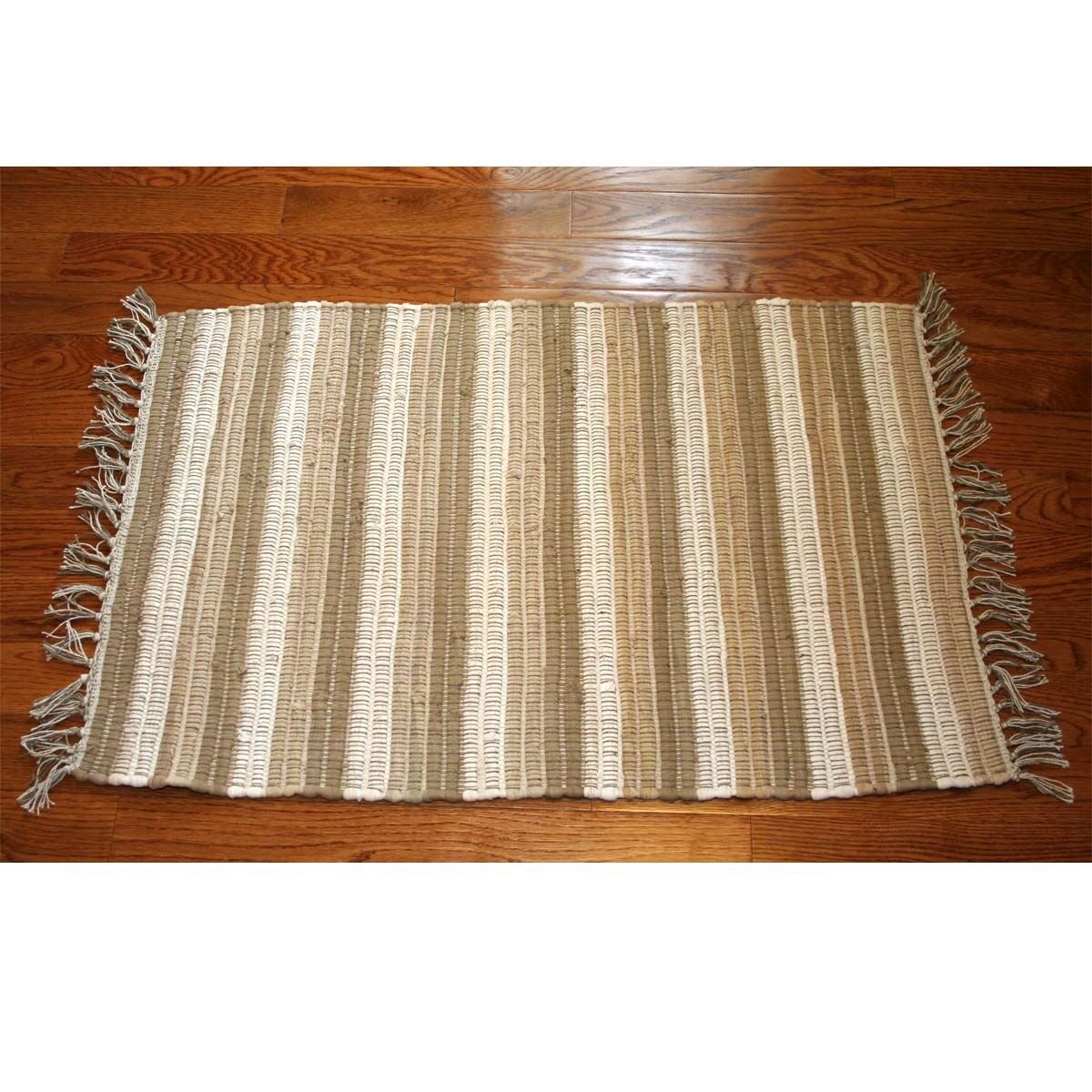 One-of-a-Kind Linmore Nubby Stripe Hand-Woven Cream Area Rug Rug Size: Rectangle 3' x 5'