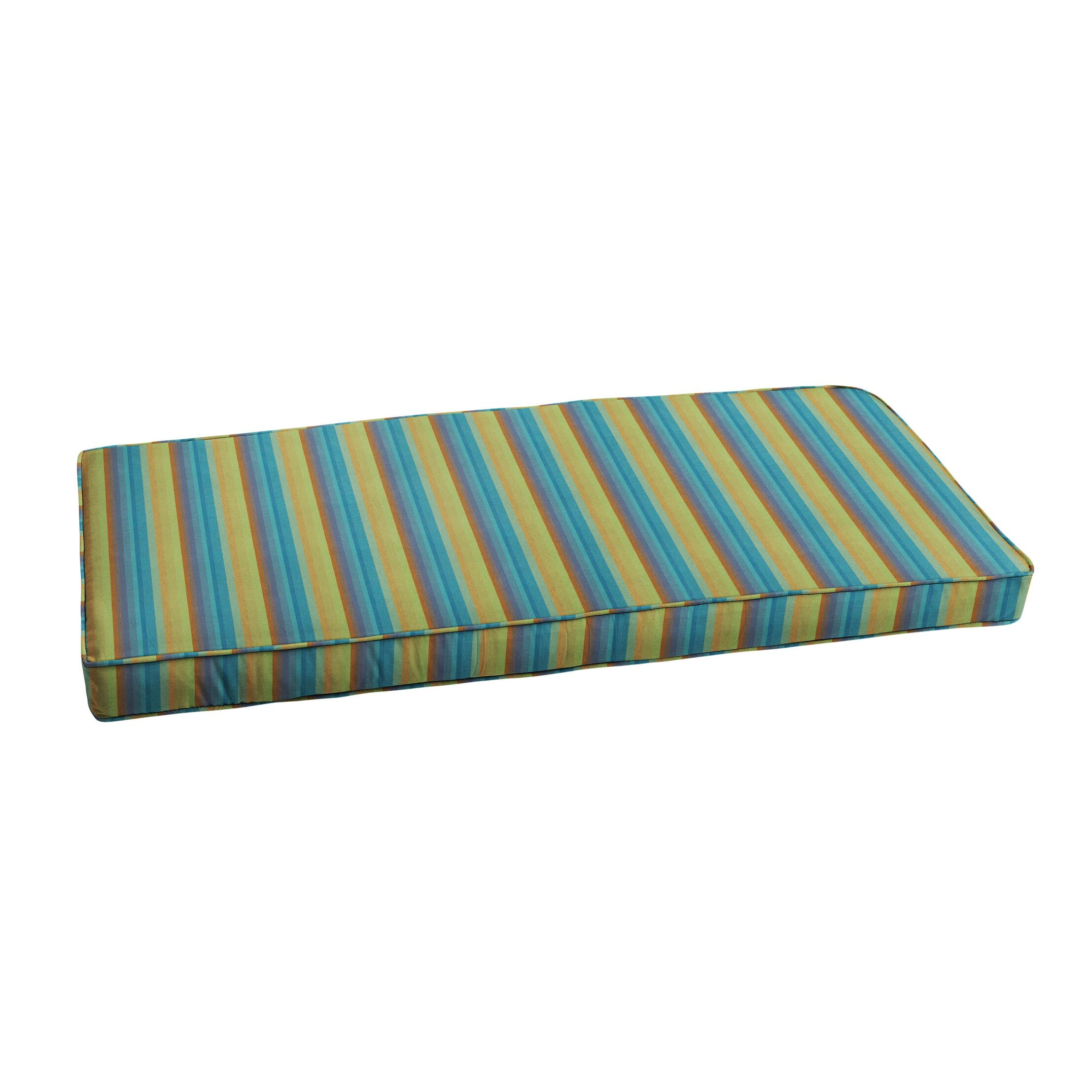 Features: -Cushion cover can be removed for easy cleaning.-The eco-friendly fill is 100% recycled polyester.-Zipper closure with corded edging.-Product Type: Bench Cushion.-Color: Green/Blue.-Location: Outdoor Use Only.-Upholstery Material: Sunbrella ...