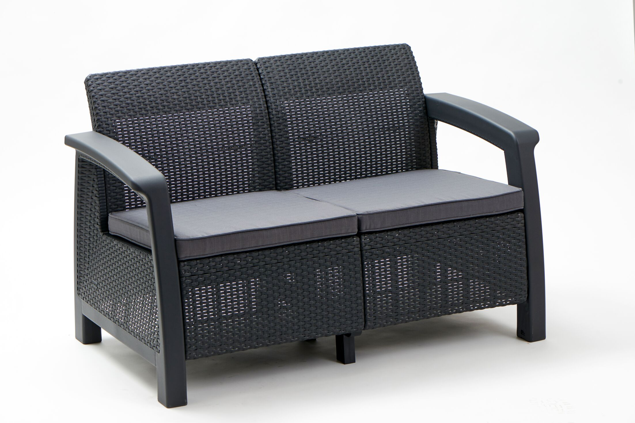 Berard Patio Loveseat with Cushions Color: Graphite, Arm Type: Smooth