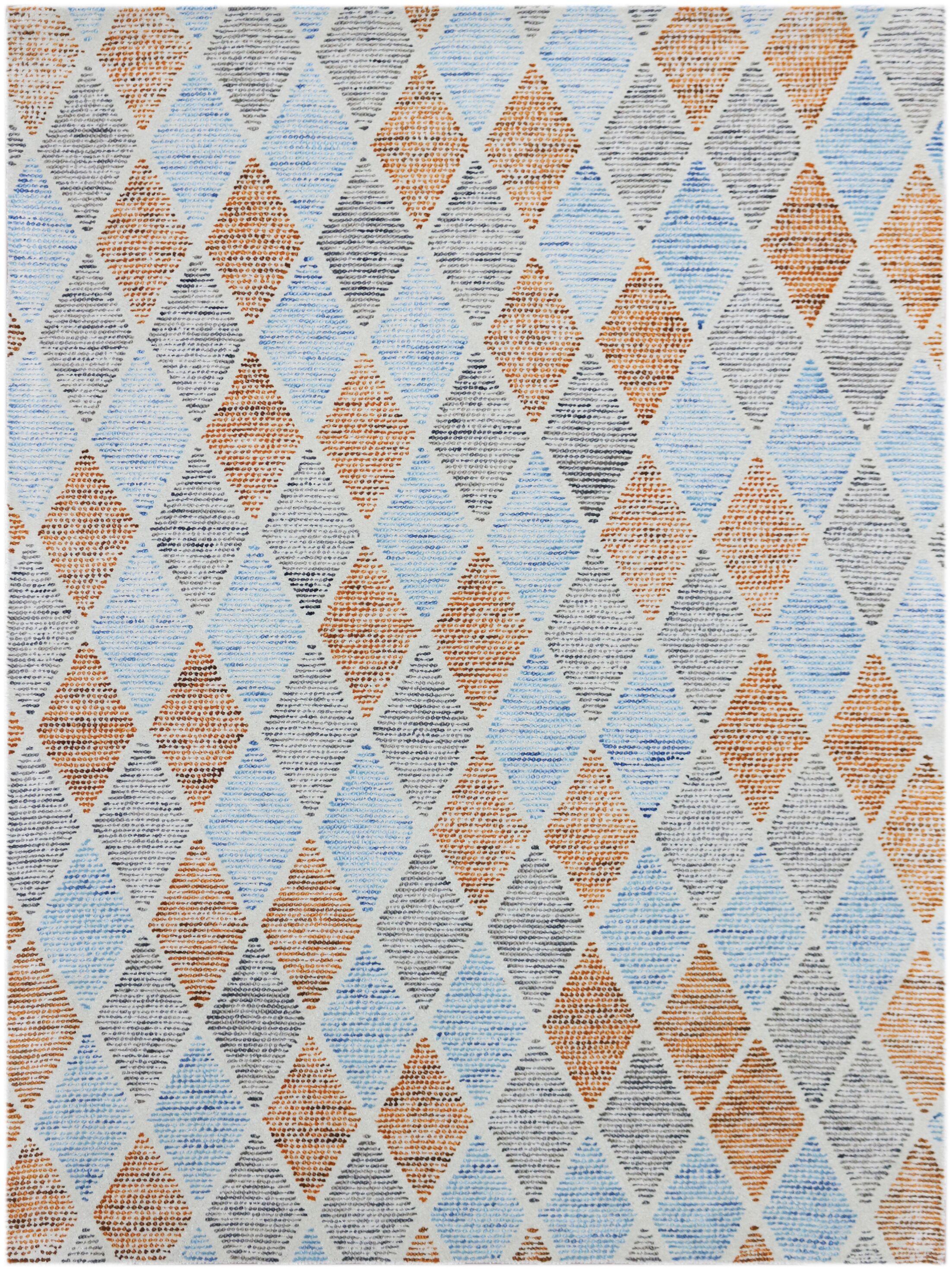 Callista Hand-Woven Wool Aqua Area Rug Rug Size: Rectangle 8' x 11'