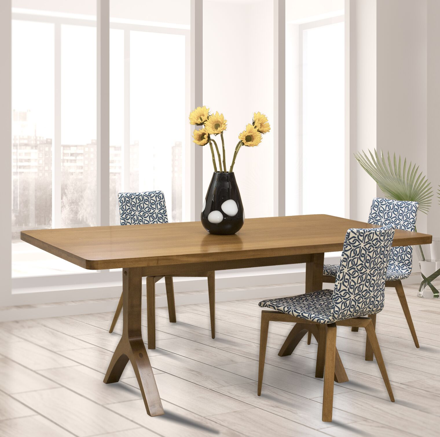 Colyt Burnished Extendable Solid Wood Dining Table