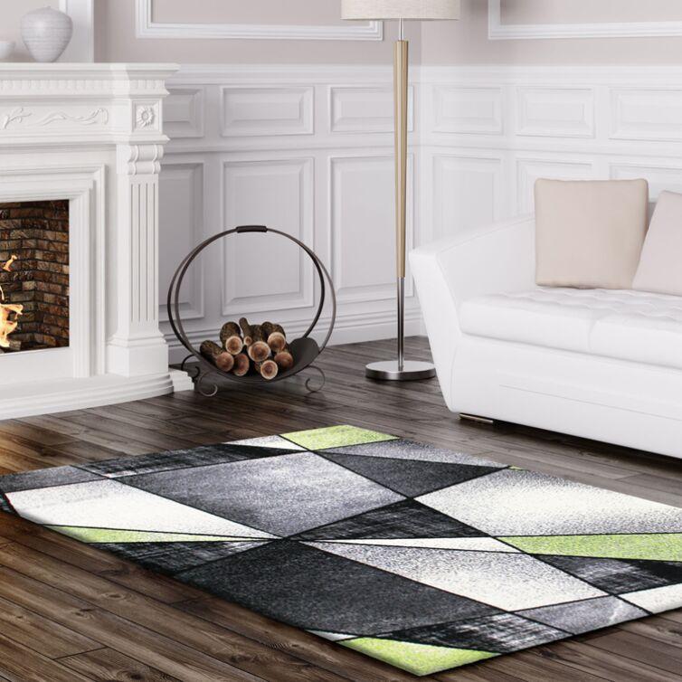 Crossen Abstract Gray/Green Area Rug Rug Size: Rectangle 5'3