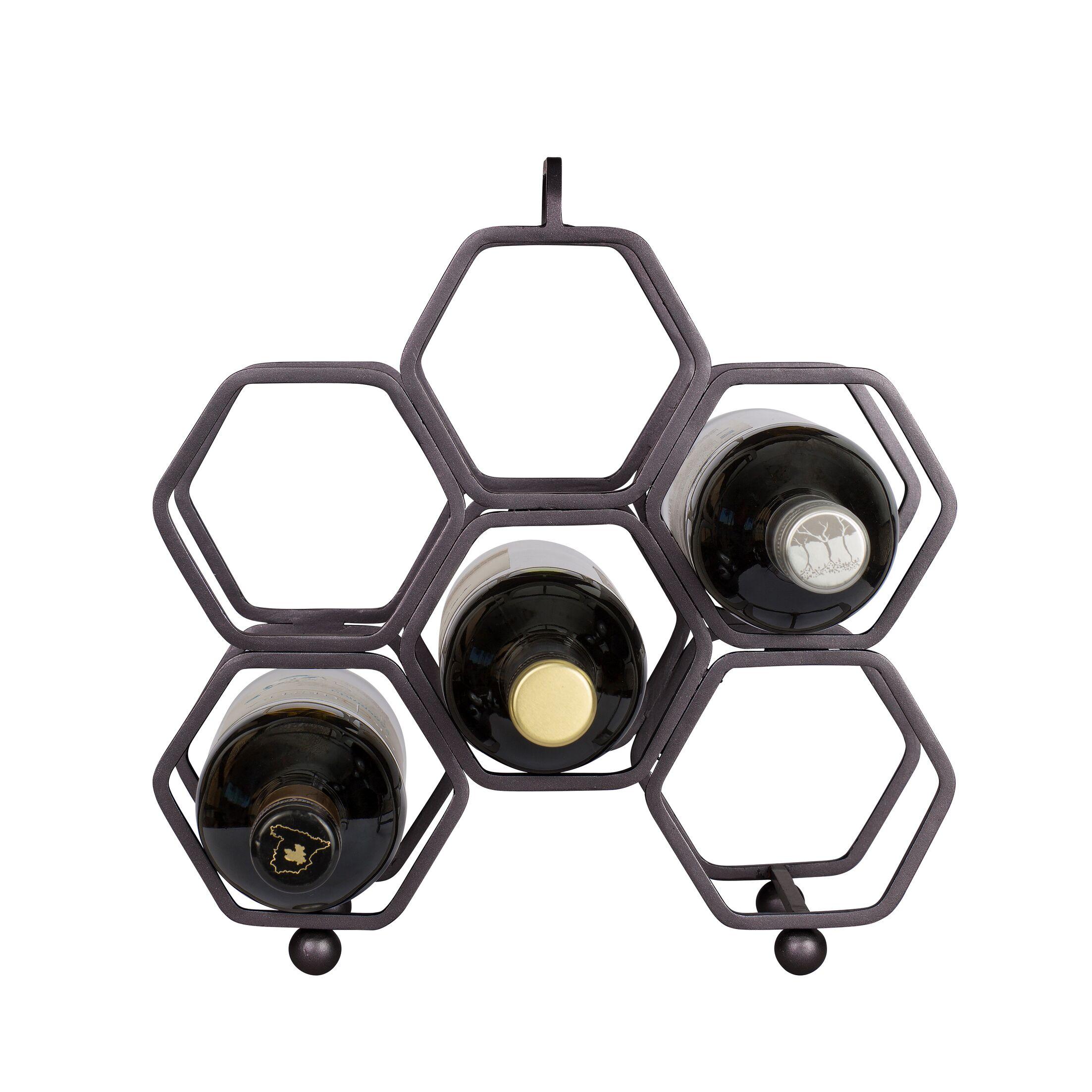 Hexagonal 6 Bottle Tabletop Wine Rack Finish: Rustic Bronze