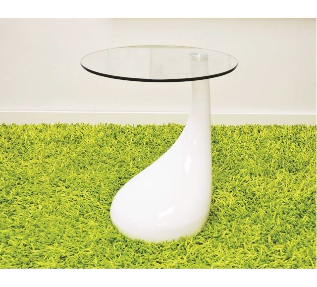 Wendler Glass Top End Table Table Base Color: White