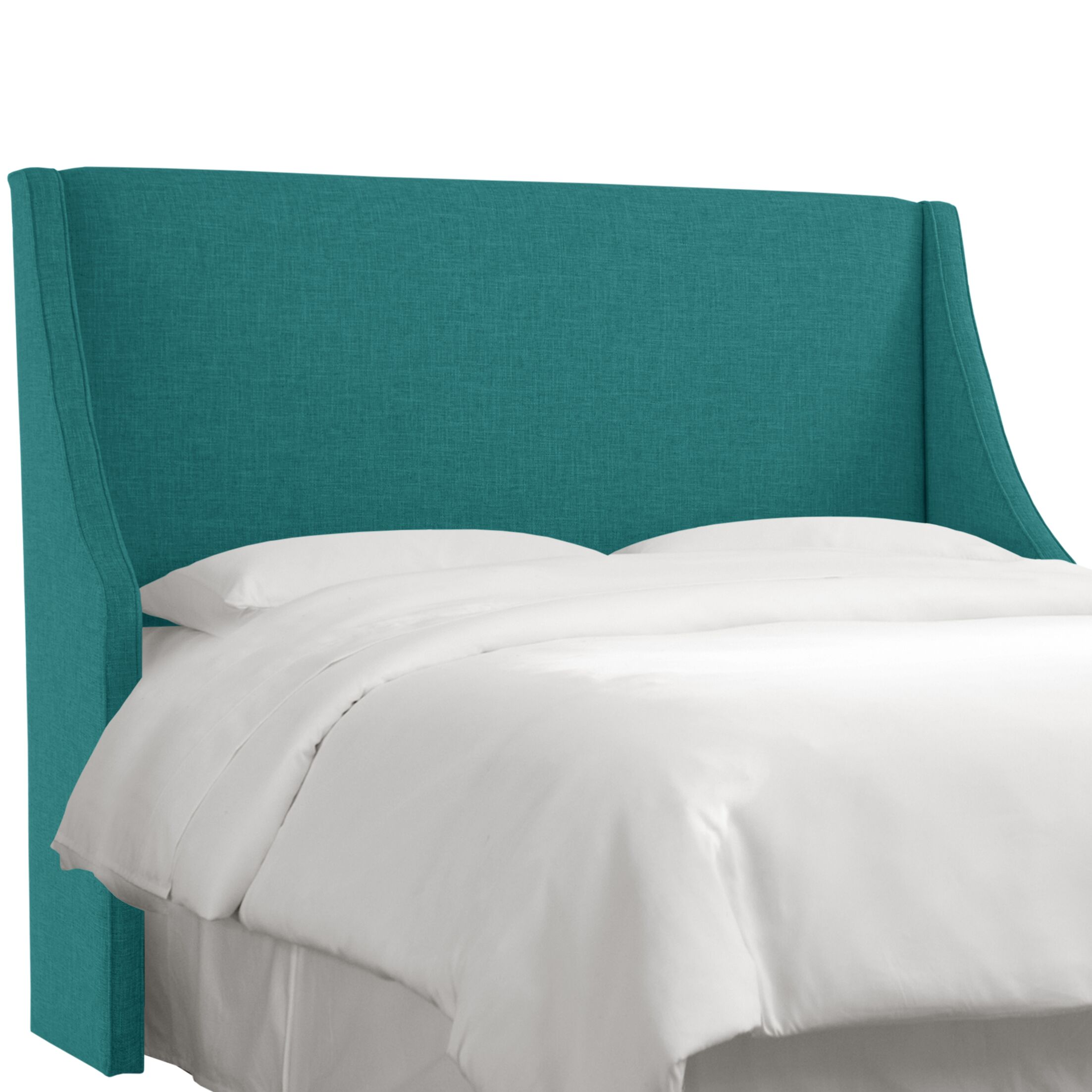 Crumrine Swoop Arm Upholstered Wingback Headboard Size: Twin, Color: Zuma Peacock