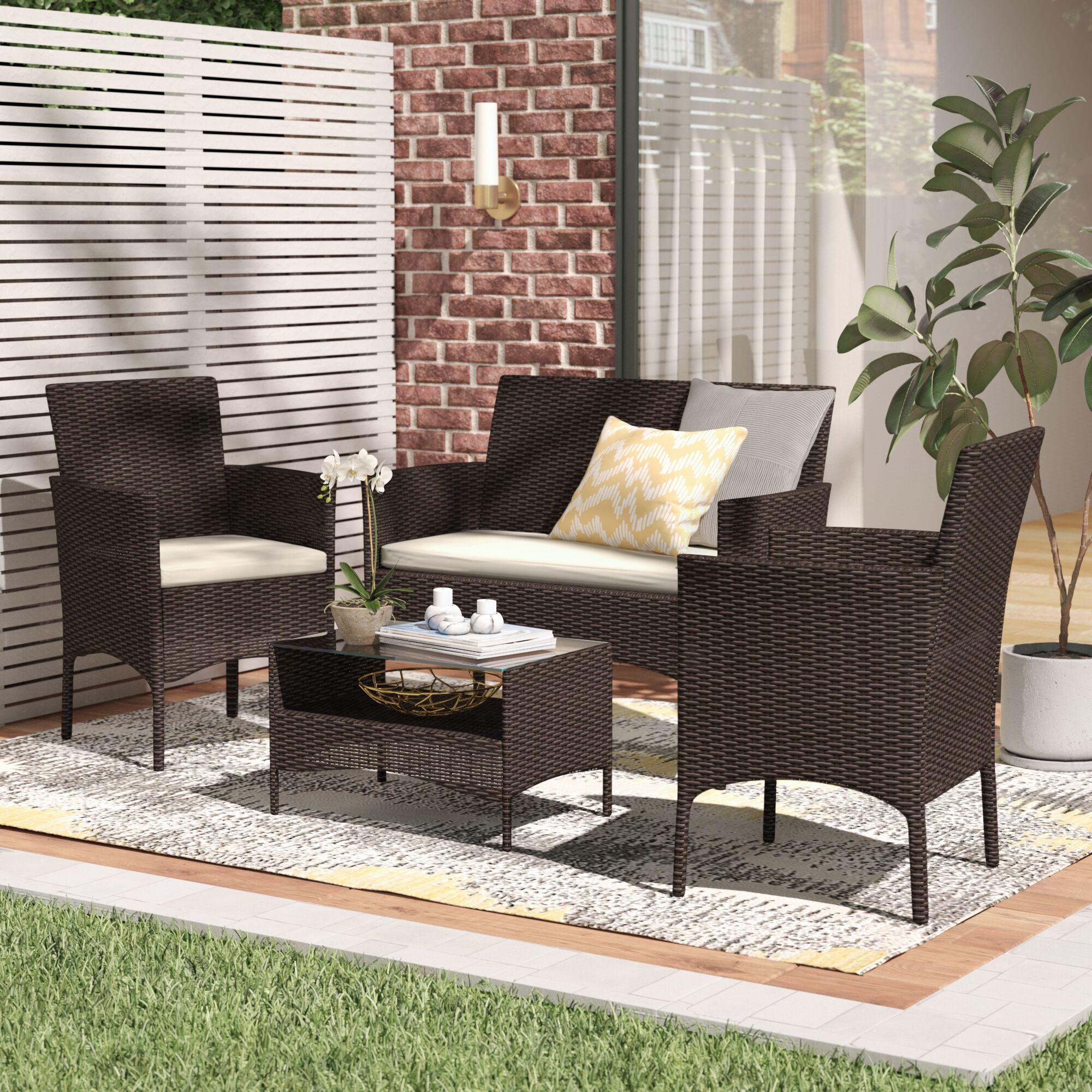 Woodland Park 4 Piece Sofa Set with Cushions Color: Espresso
