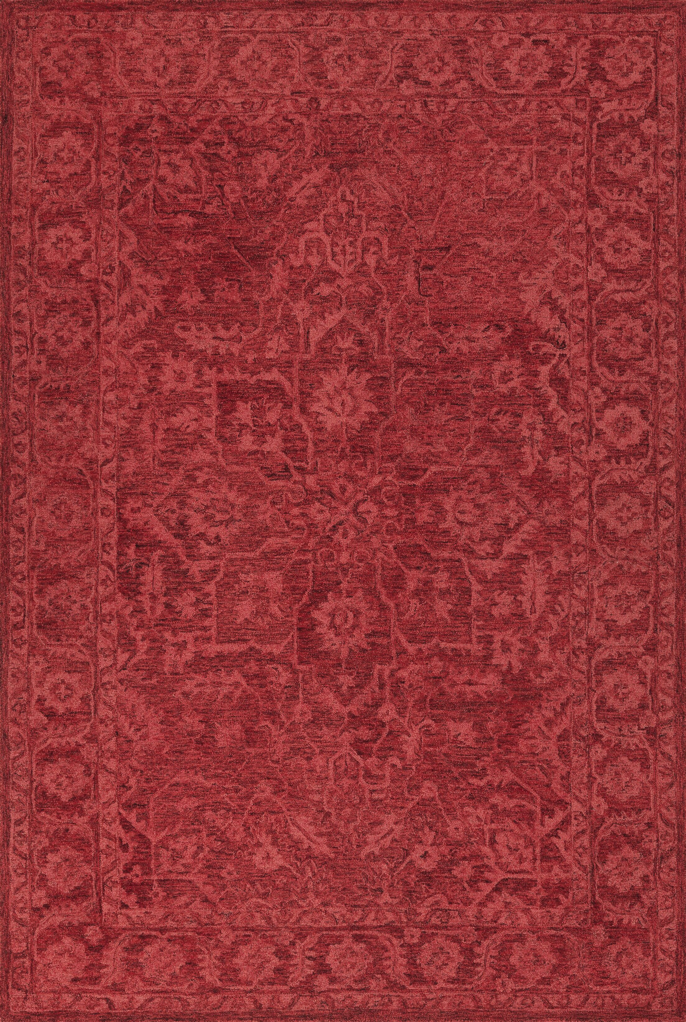 Chatmon Hand-Tufted Wool Red Area Rug Rug Size: Rectangle 5' x 7'6