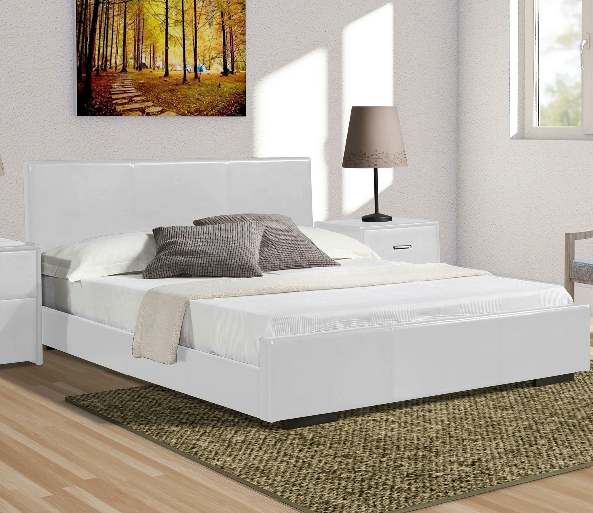 Hindes Upholstered Platform Bed Size: Twin, Color: White