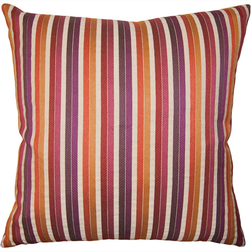 Rainbow Stripe Pillow Size: 24