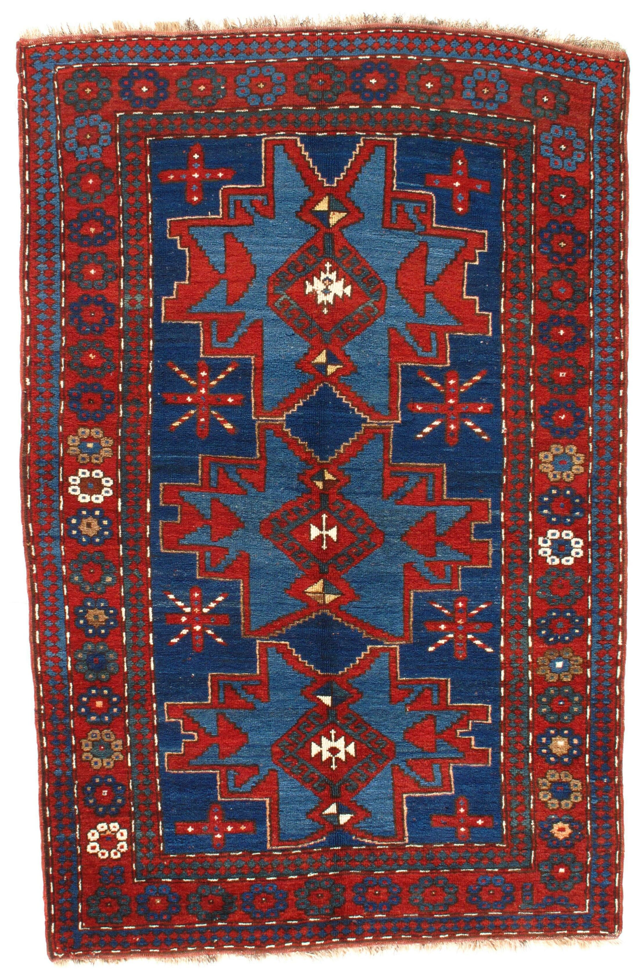 Azerbaijan Kazak Hand-Woven Wool Red/Navy Area Rug