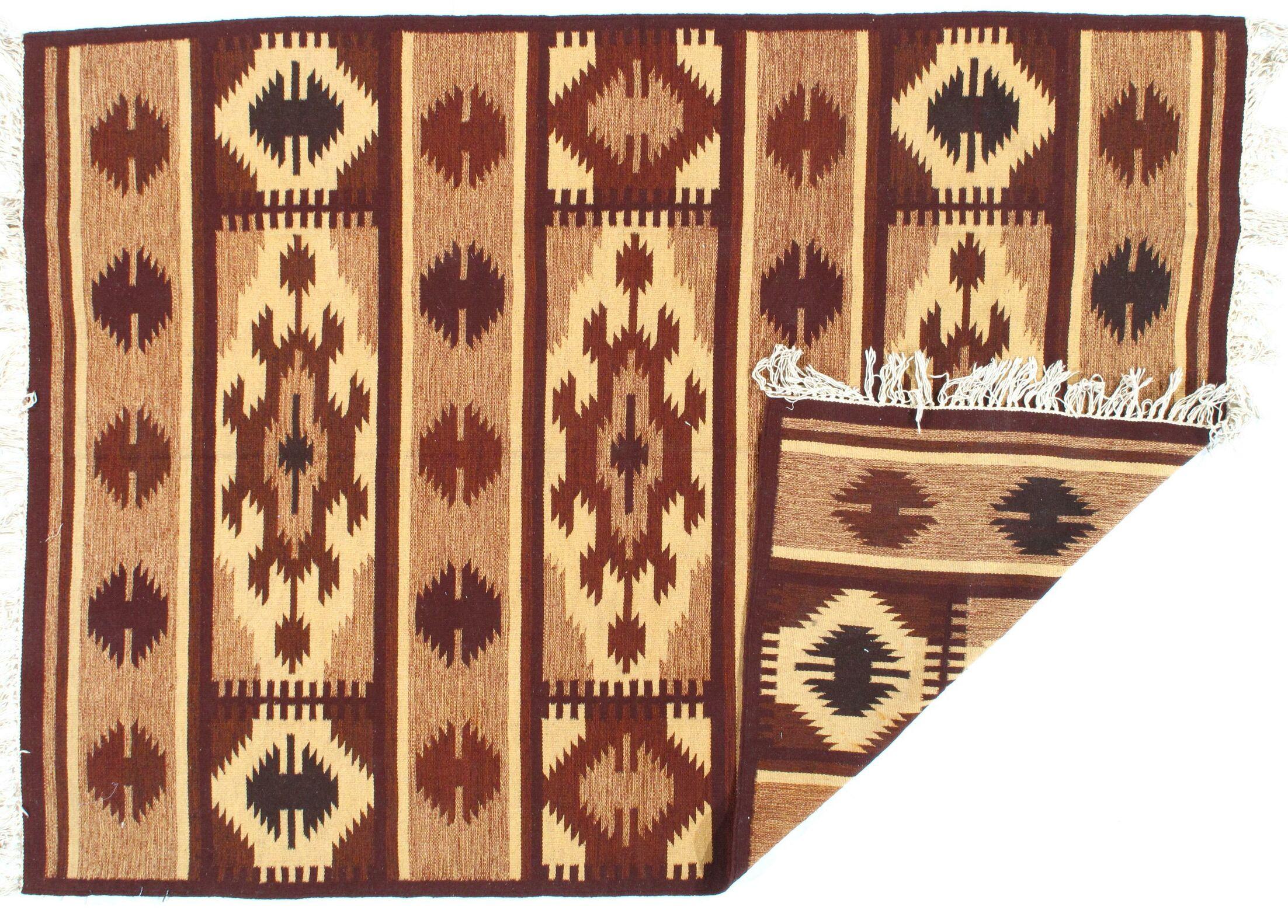 Afghan Hand-Woven Brown Area Rug
