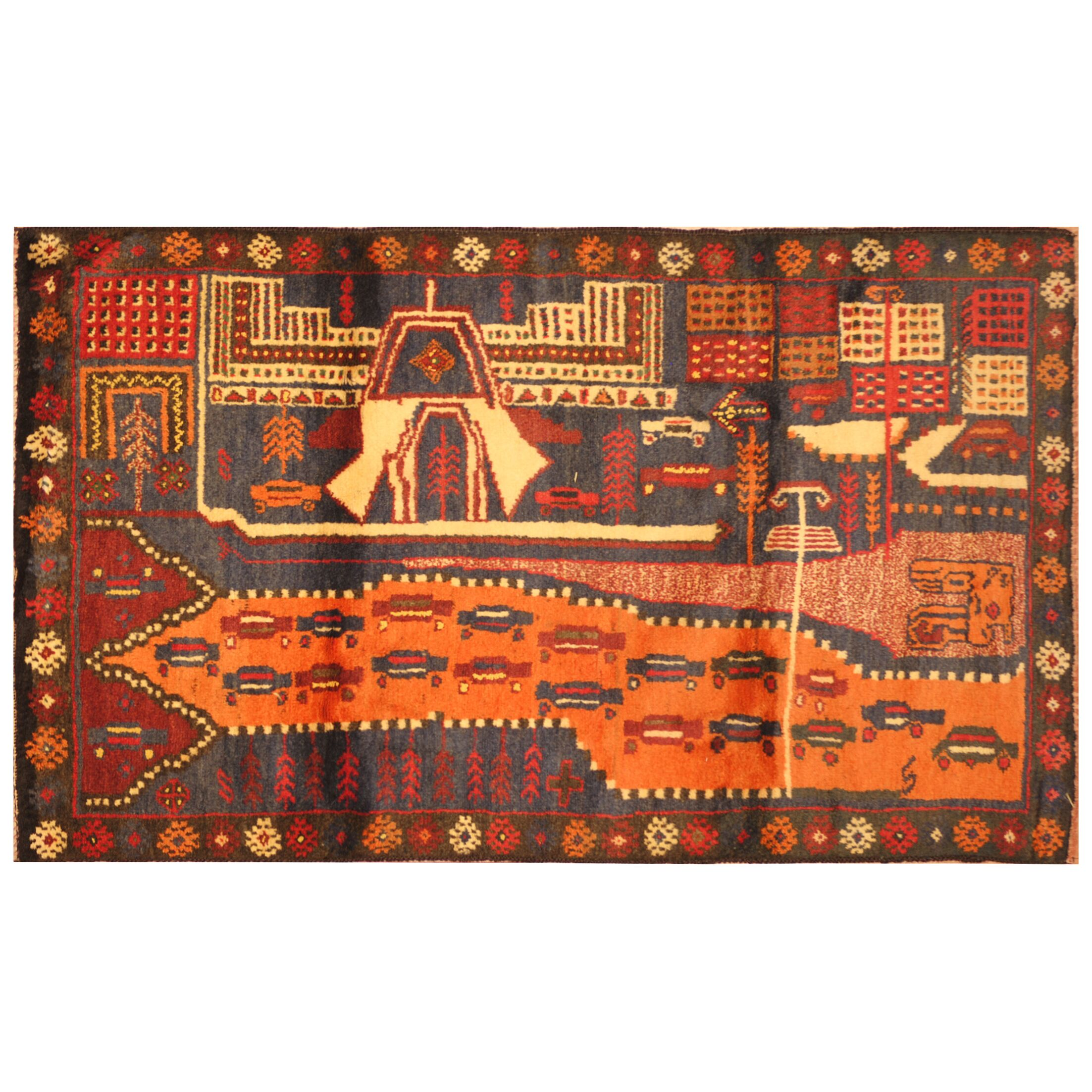 One-of-a-Kind Prentice War Hand-Woven Wool Navy/Red Area Rug