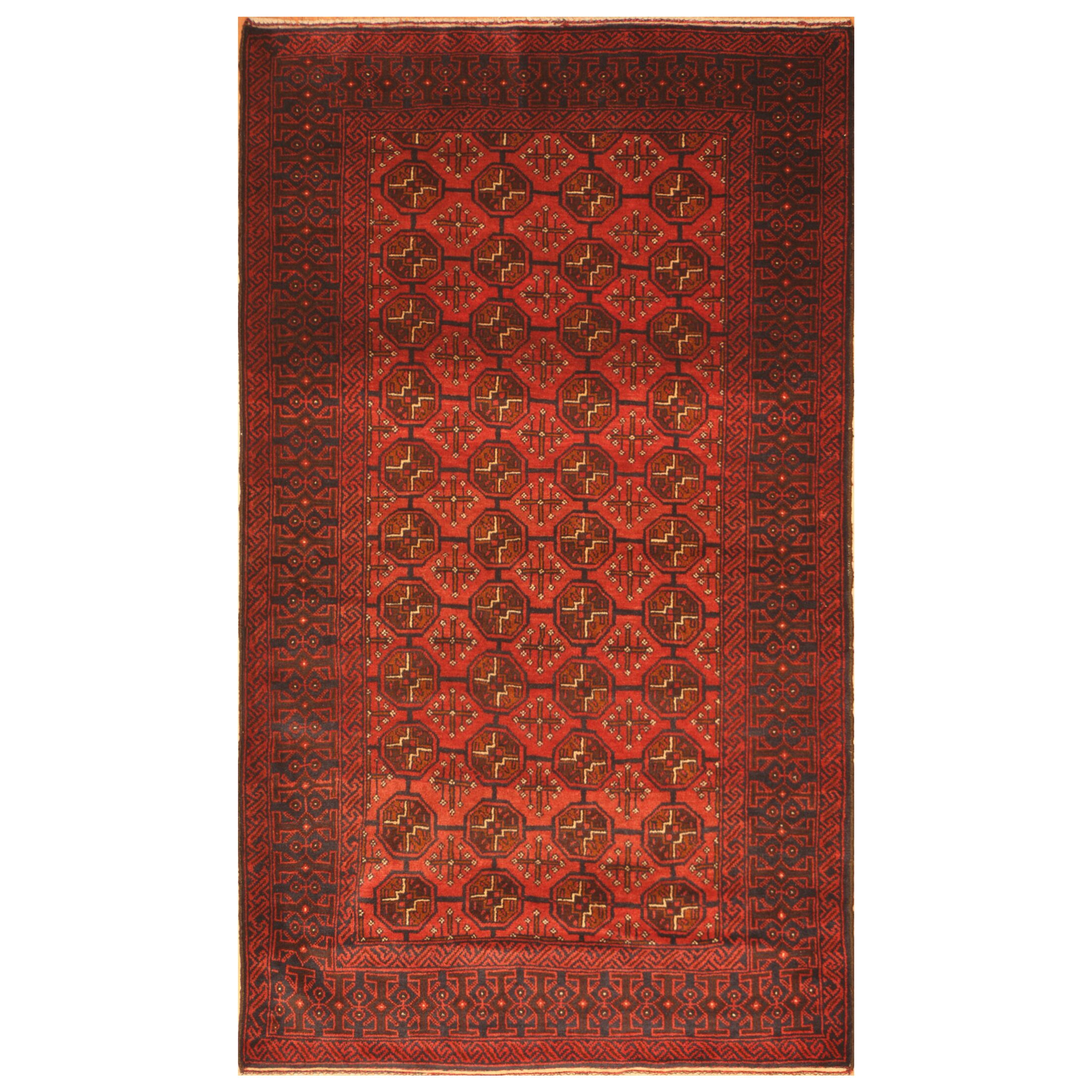 One-of-a-Kind Prentice Hand-Woven Wool Red/Navy Area Rug