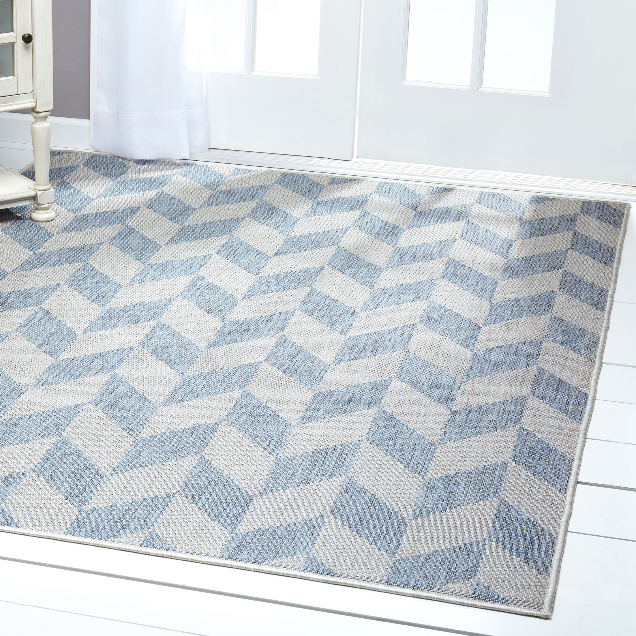 Geometric Blue/Gray Indoor/Outdoor Area Rug Rug Size: Rectangle 7'9