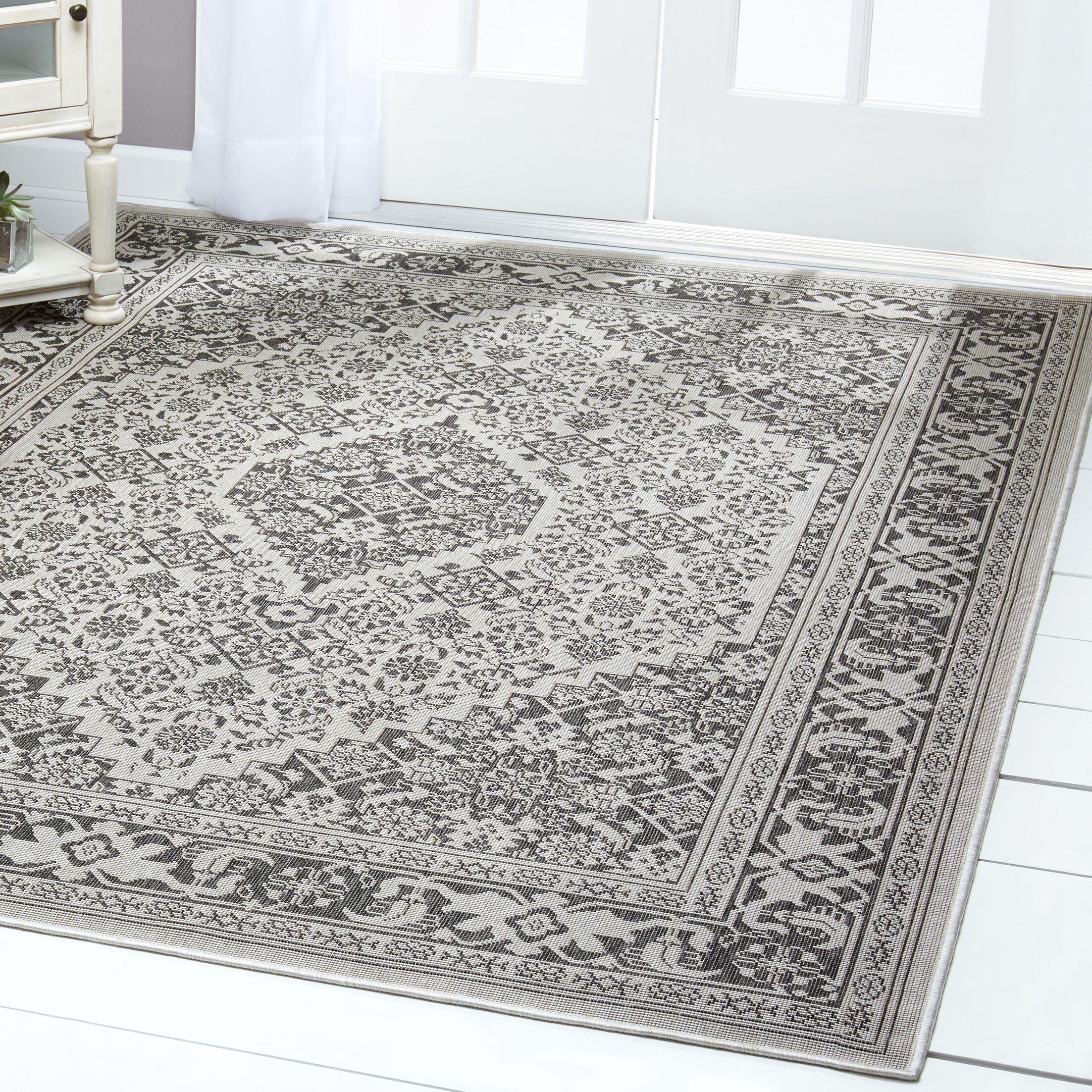 Persian Gray/Black Indoor/Outdoor Area Rug Rug Size: Rectangle 7'9