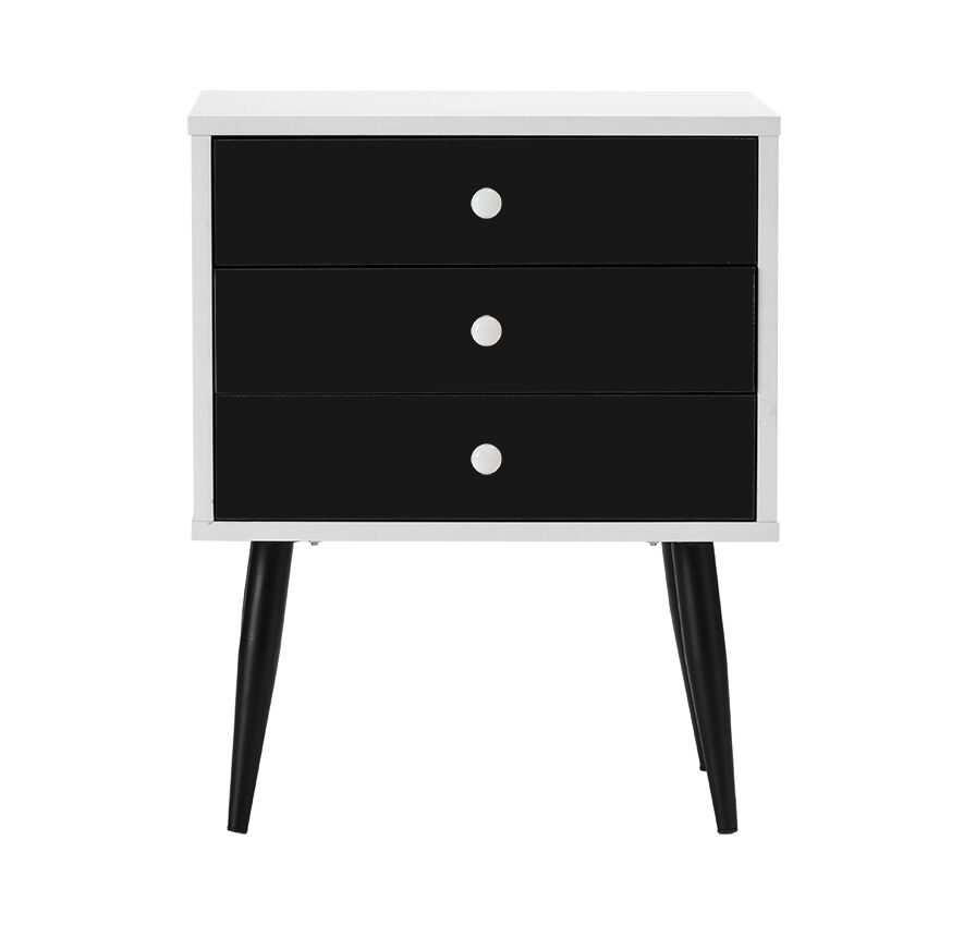 Dimartino Mid Century 3 Drawer Nightstand Color: White/Black