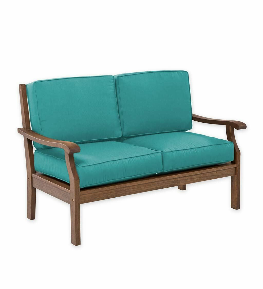 Claremont Deep Seating Love Seat with Cushions Color: Aqua