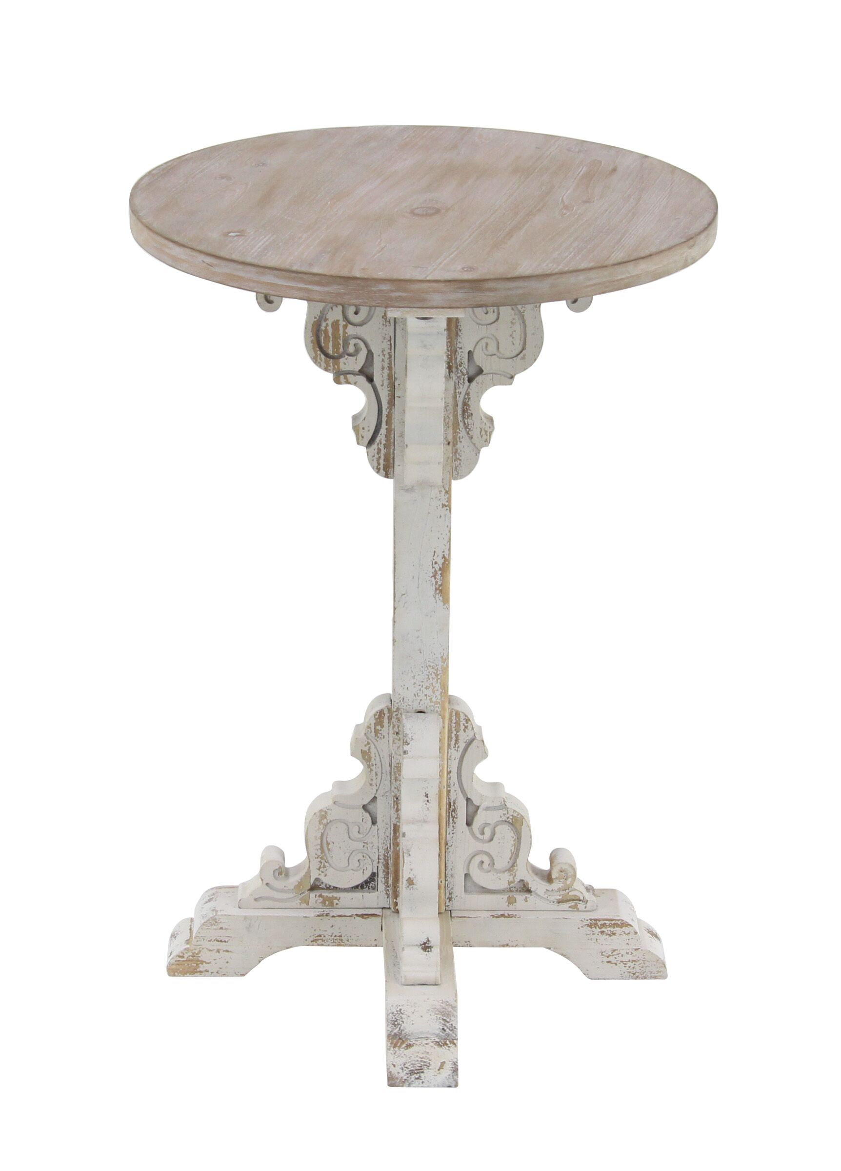 Chadwin Traditional Round Wood End Table Table Base Color: White