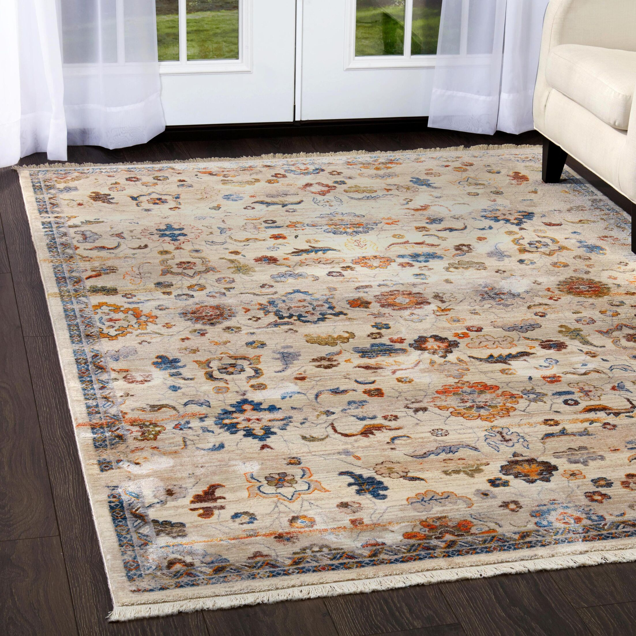 Kalish Distressed Floral Ivory Area Rug Rug Size: Rectangle 5'3