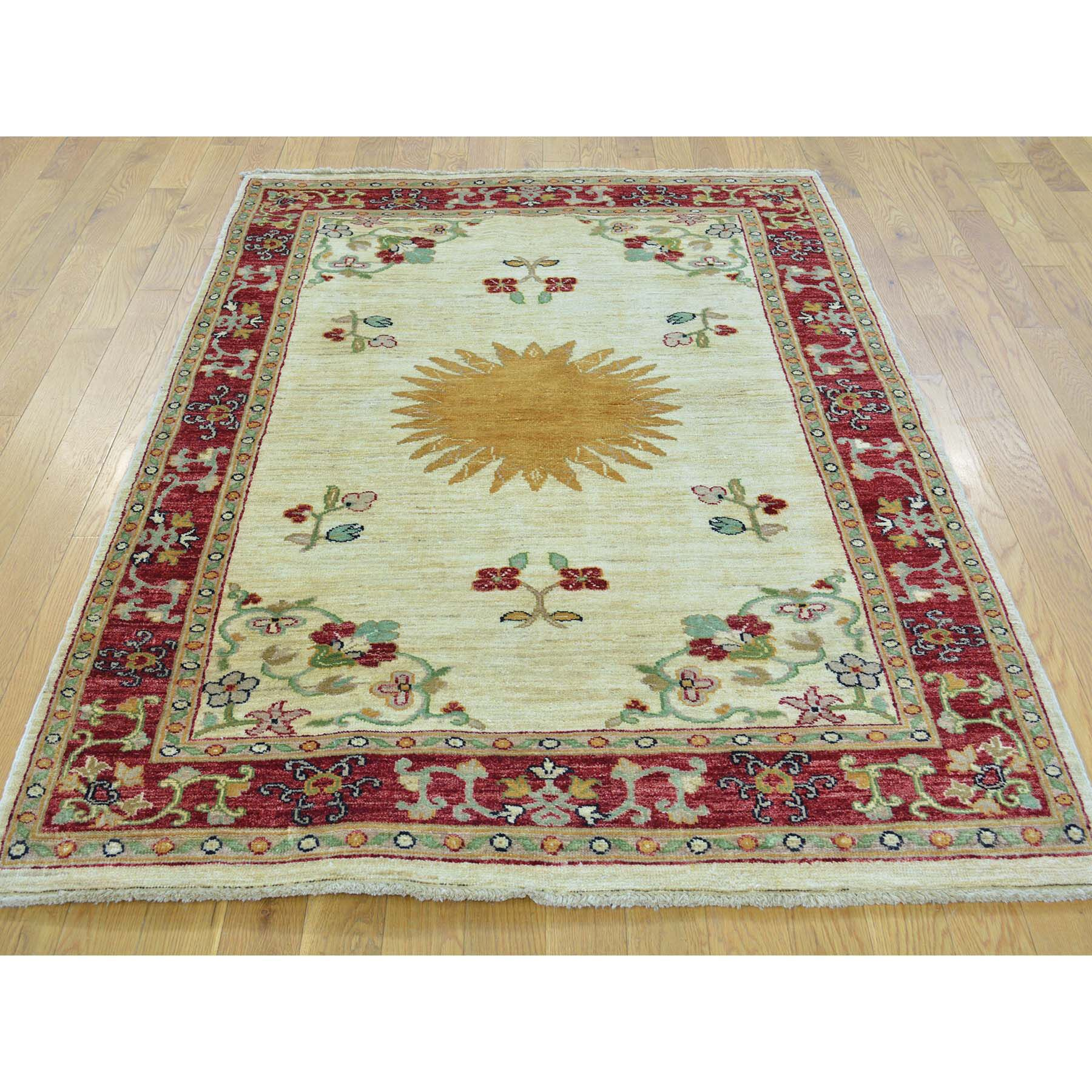 One-of-a-Kind Lavendon Bursting Sun Hand-Knotted Ivory Area Rug
