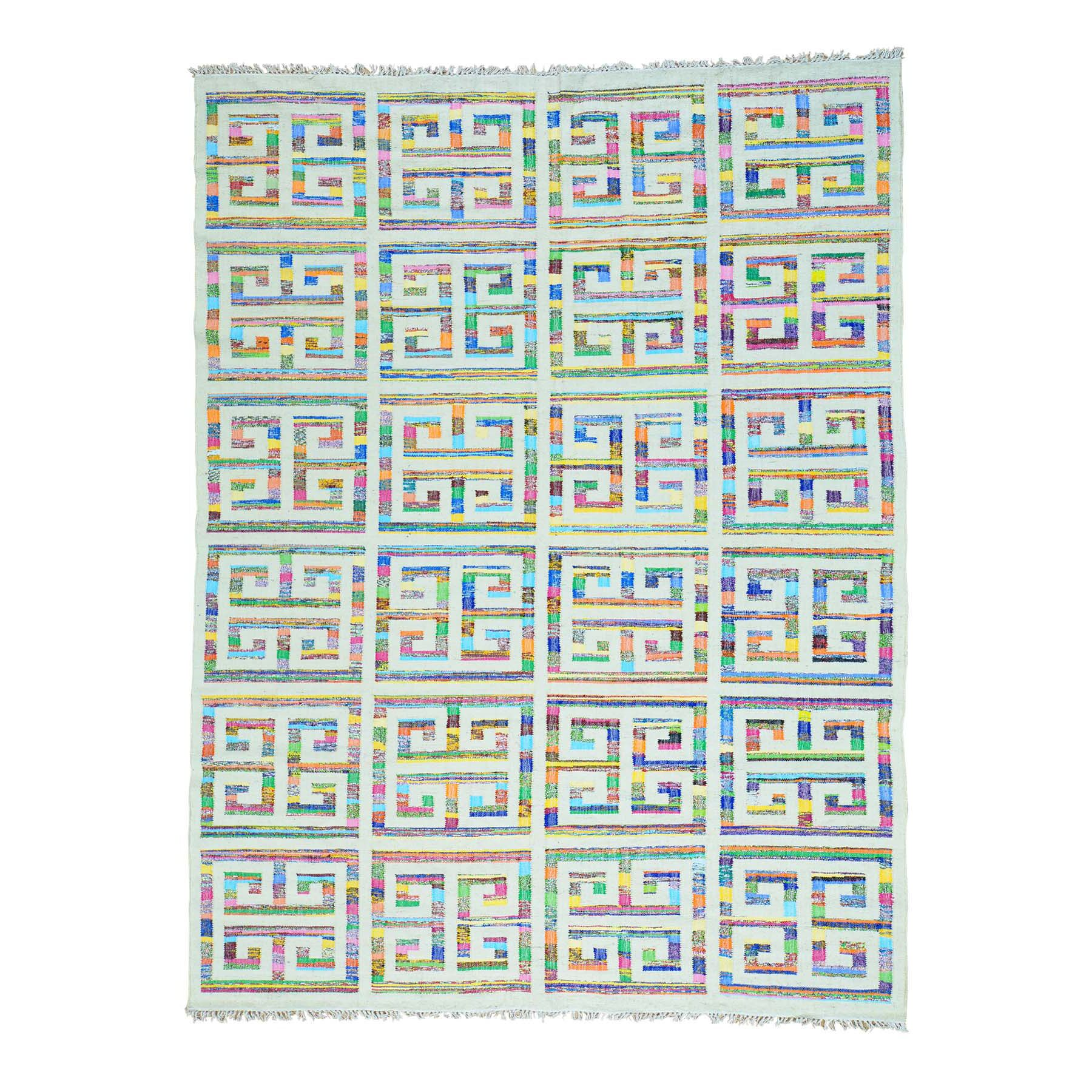 One-of-a-Kind Flat Weave Kilim Hand-Knotted Ivory/Blue Area Rug Rug Size: Rectangle 9' x 12'